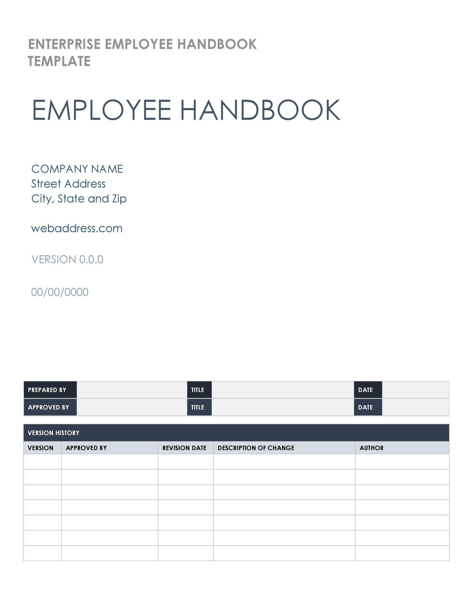 Free employee handbook template 09