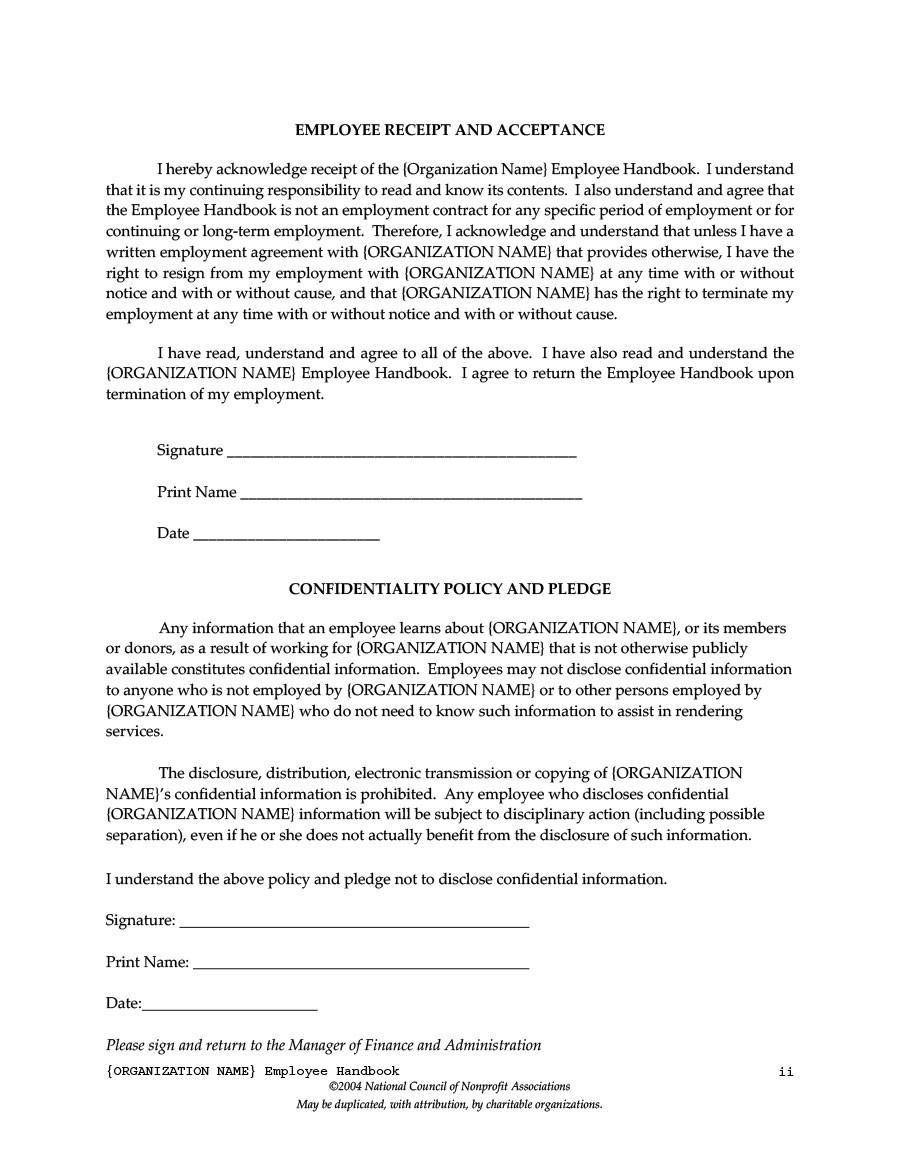 Free employee handbook template 12