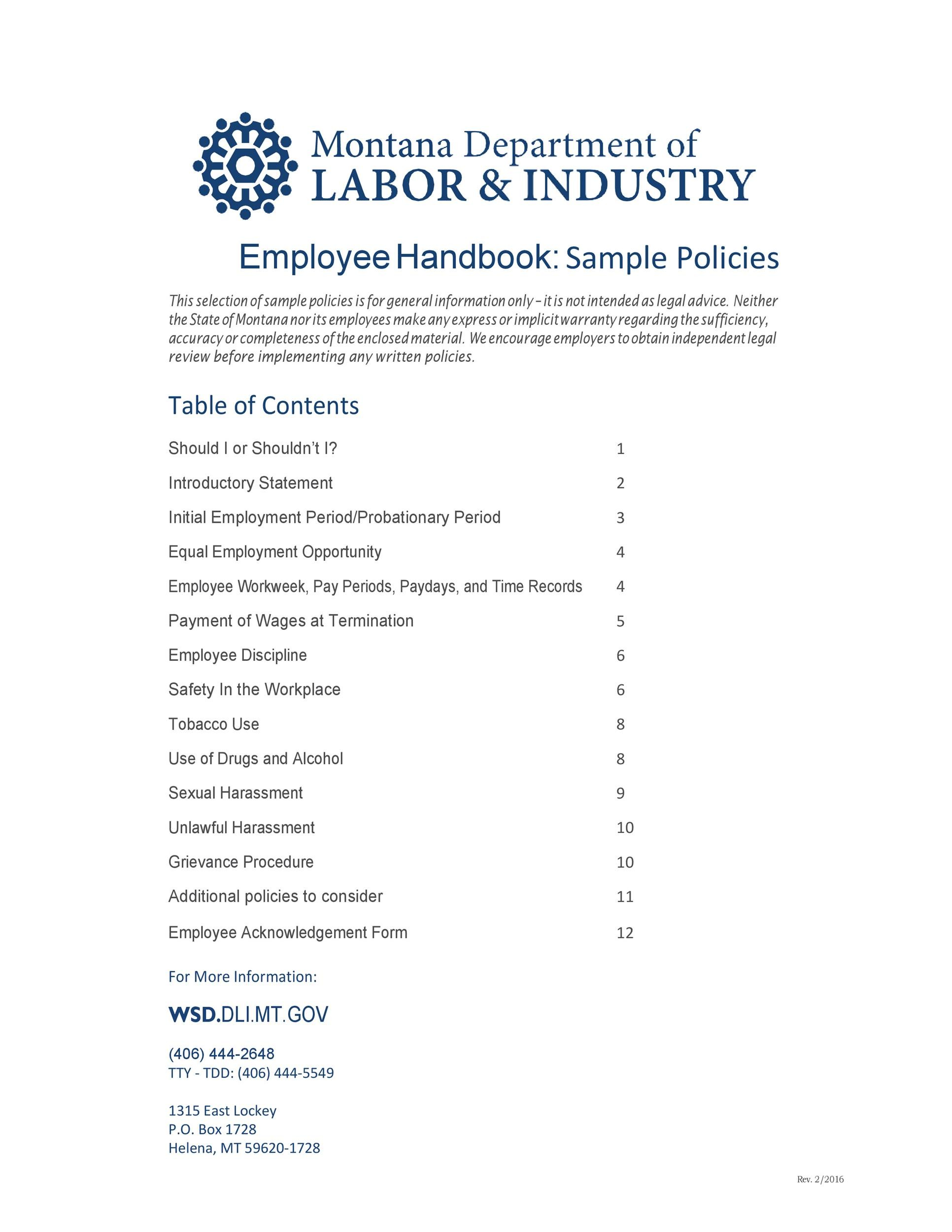 Free employee handbook template 17