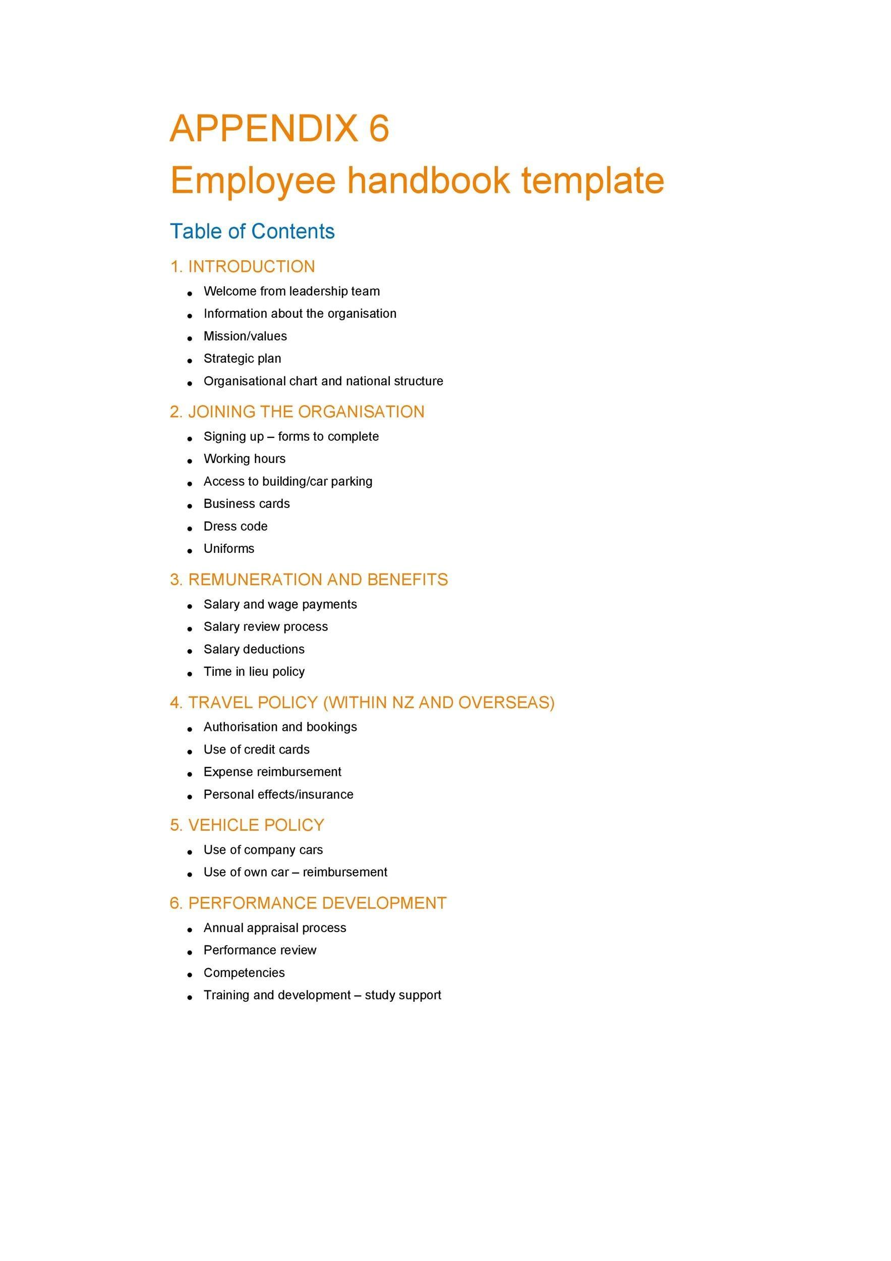 Free employee handbook template 21