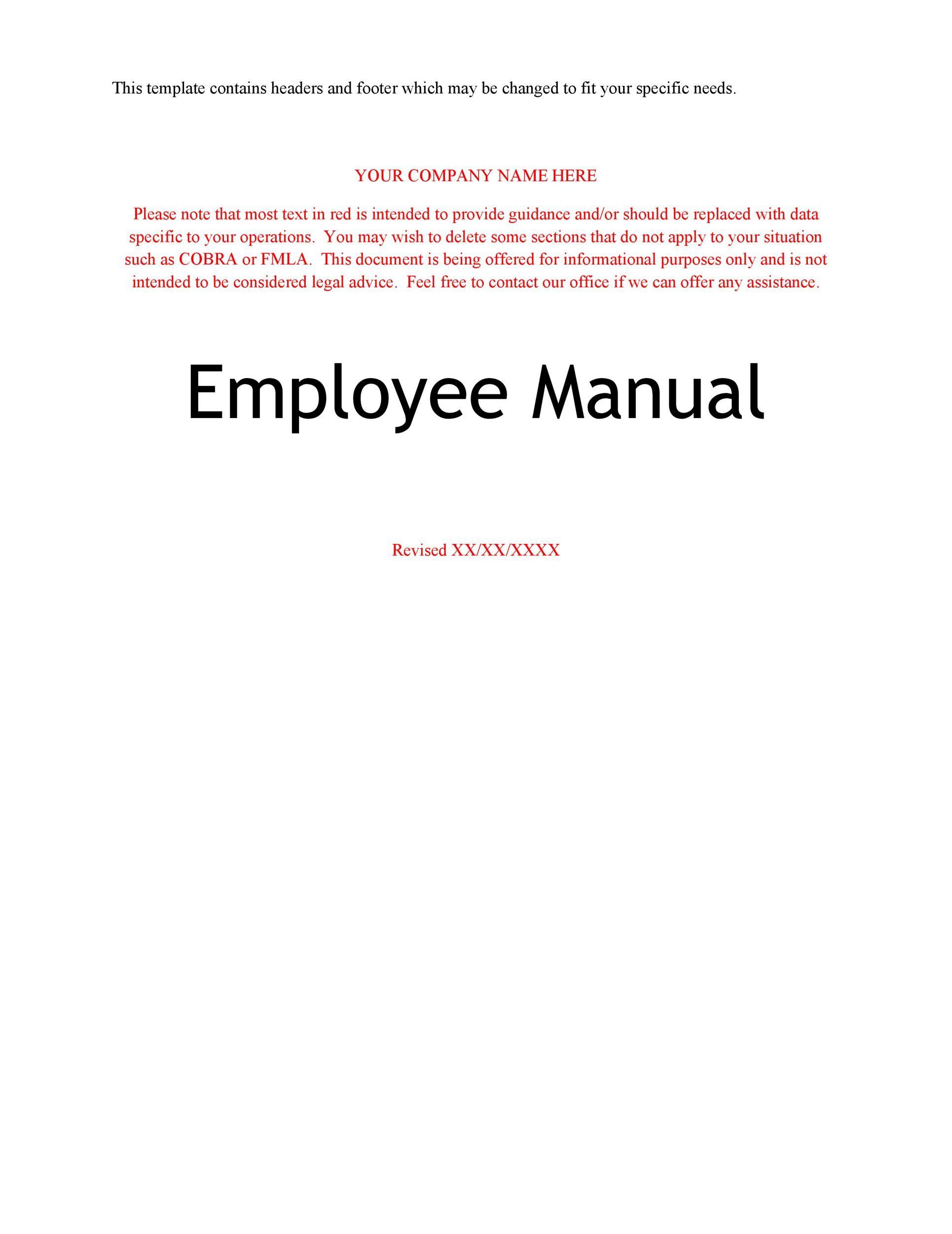 Free employee handbook template 22
