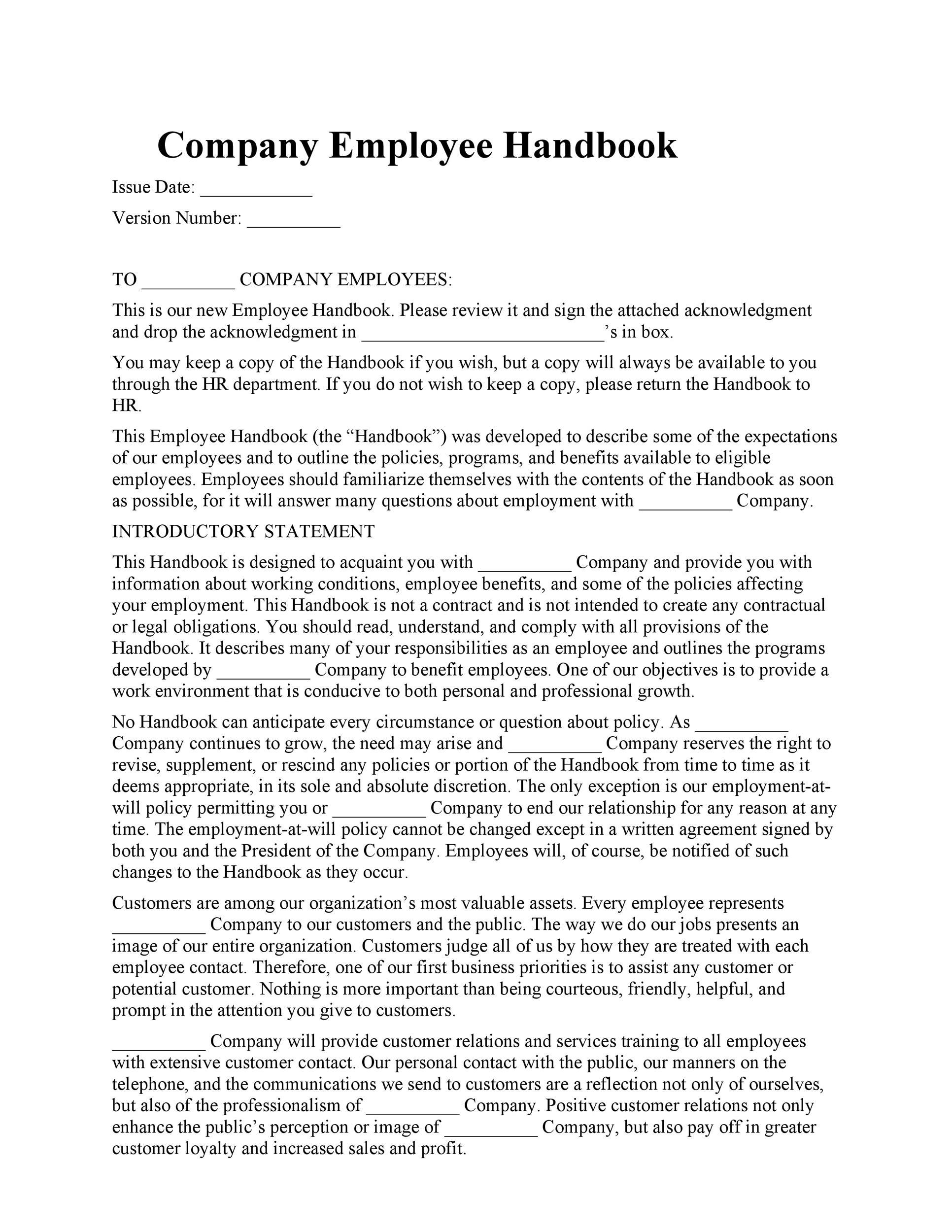 Free employee handbook template 23