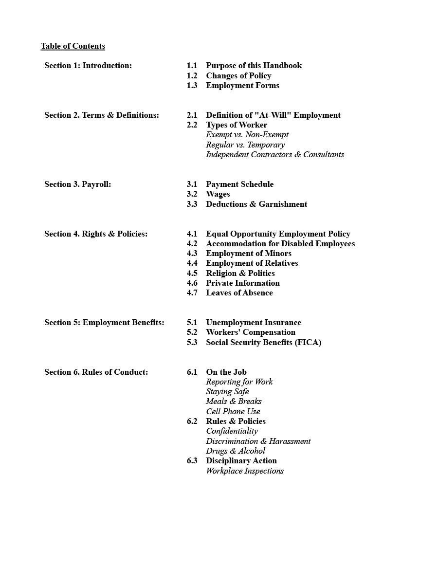 Free employee handbook template 25