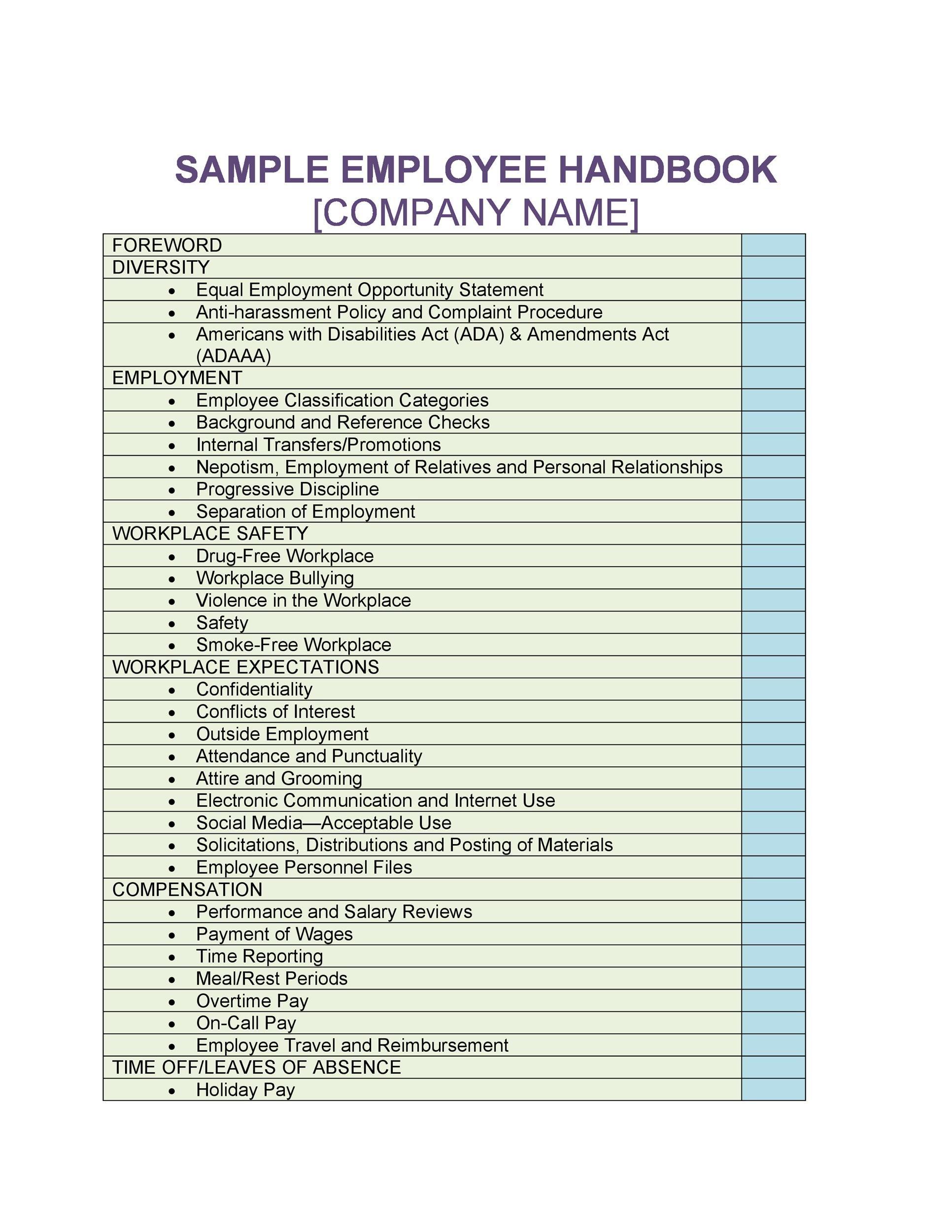Free employee handbook template 27