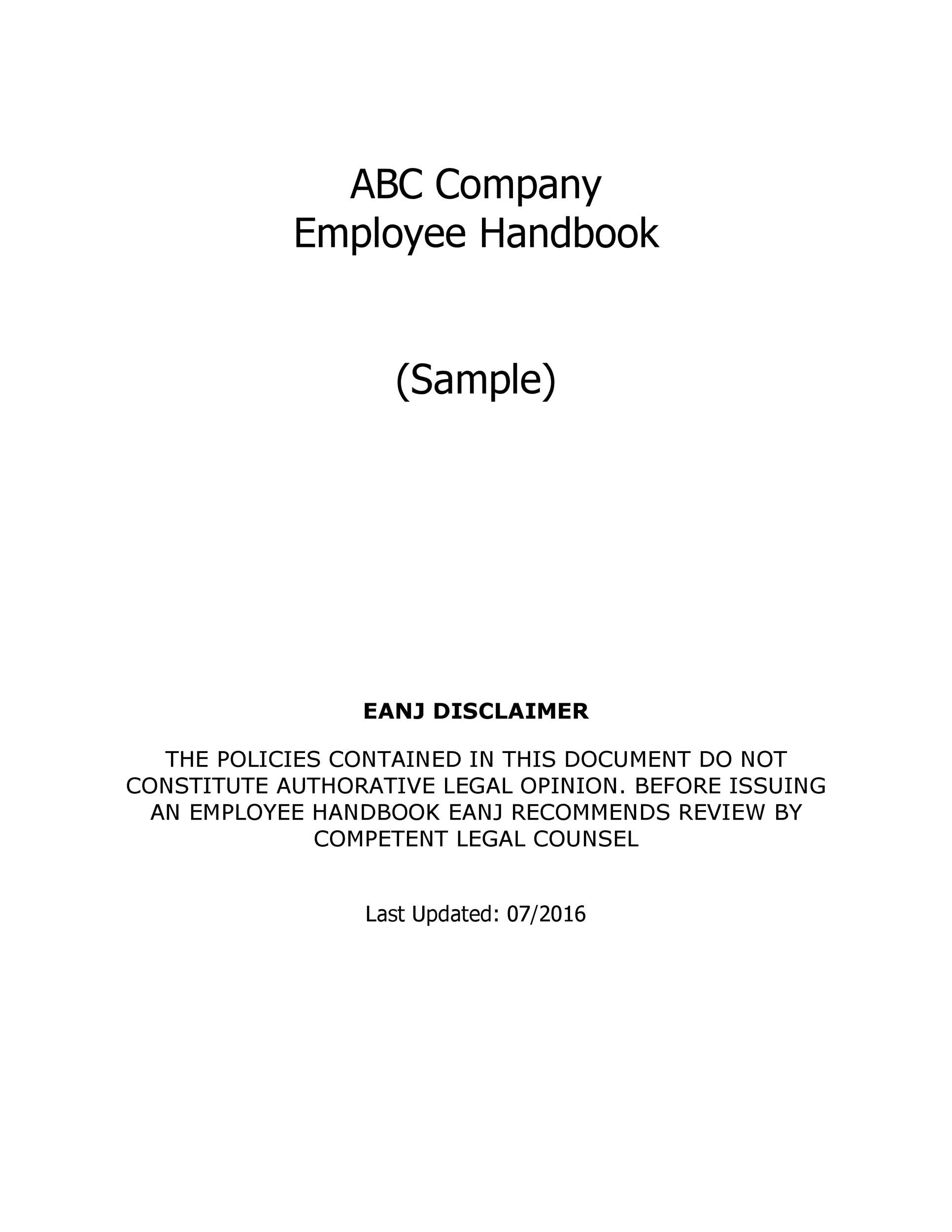 Free employee handbook template 30