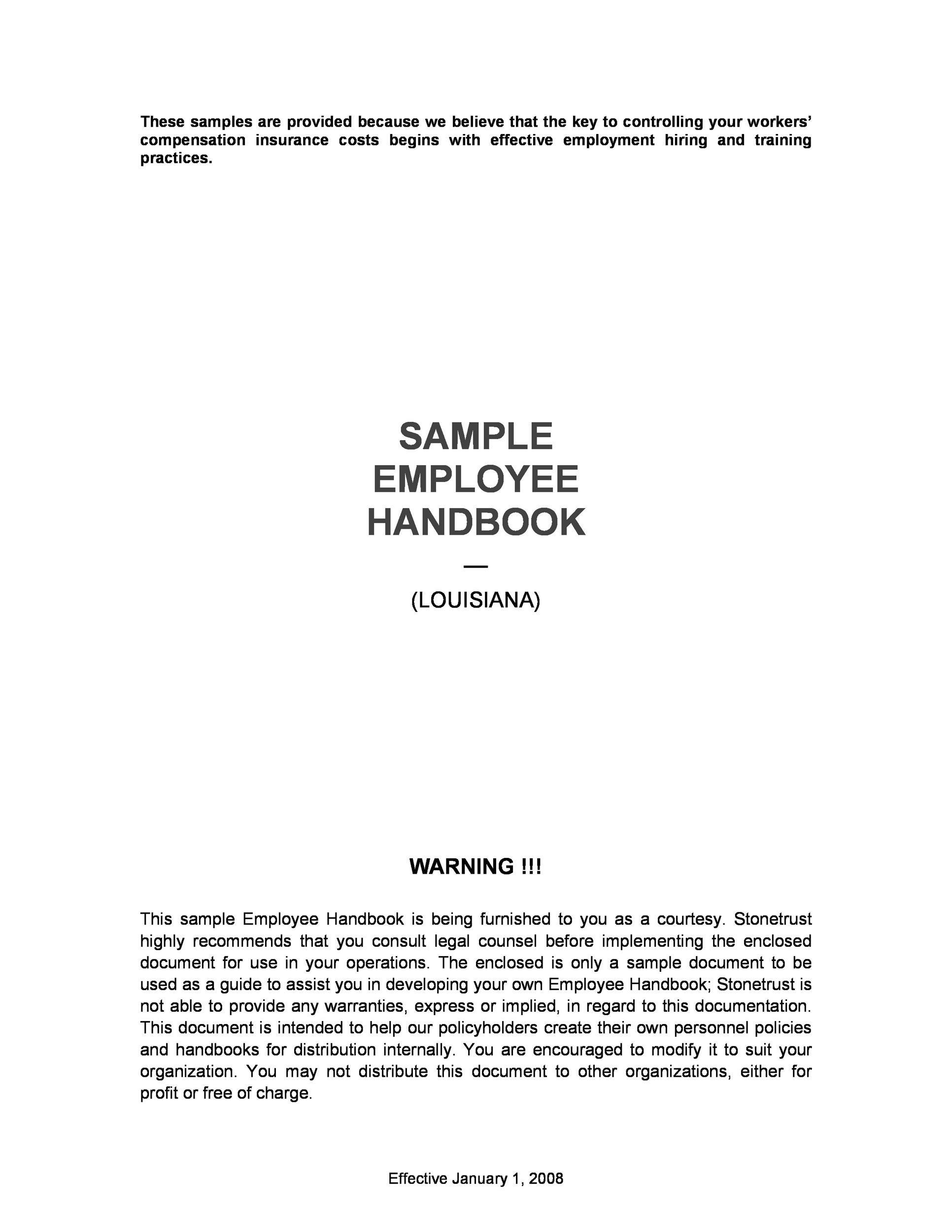 Free employee handbook template 39