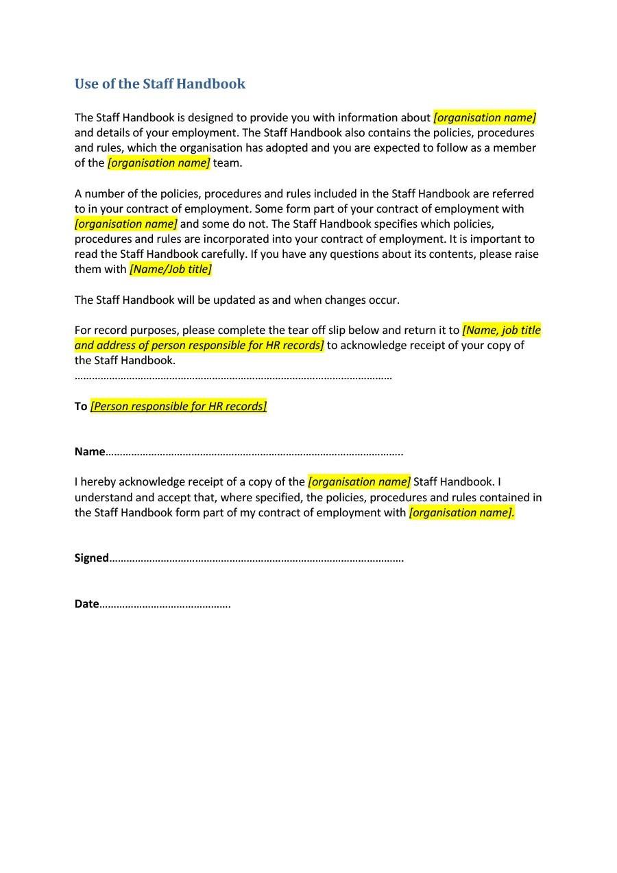 Free employee handbook template 40