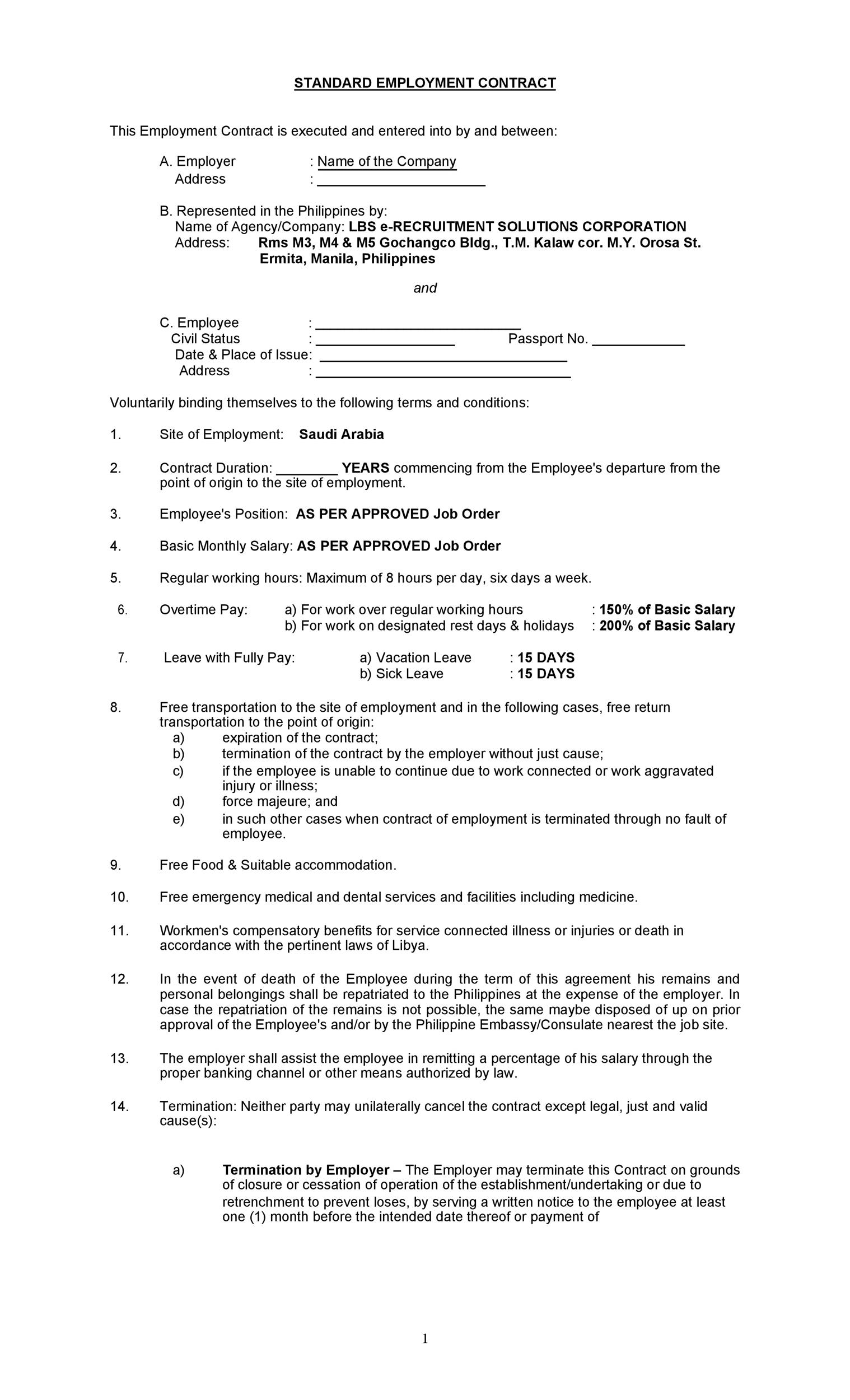 Free employment contract 07