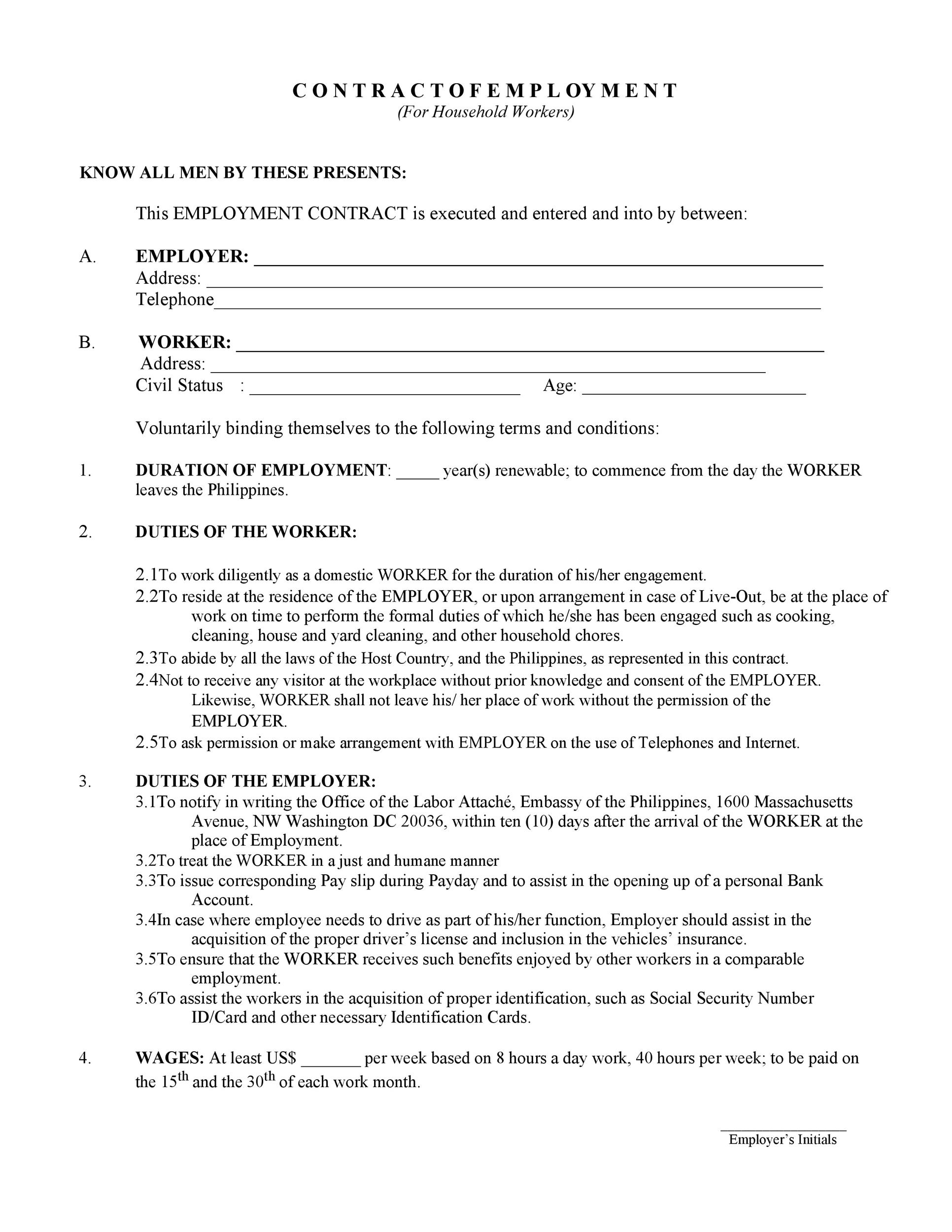 Free employment contract 09