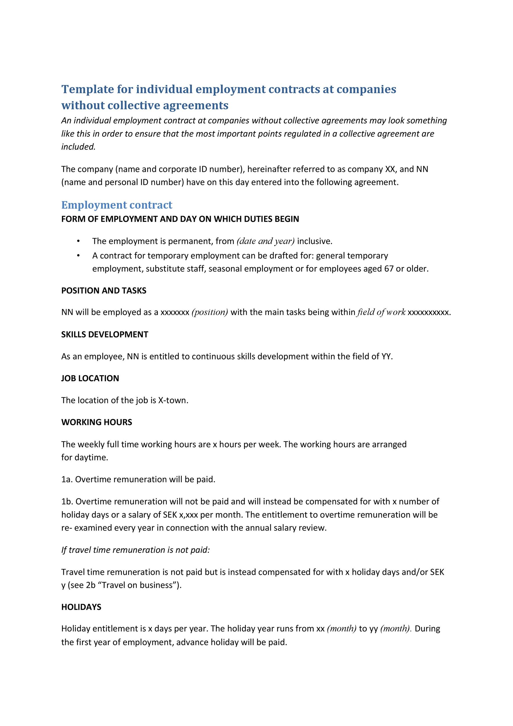 Free employment contract 22