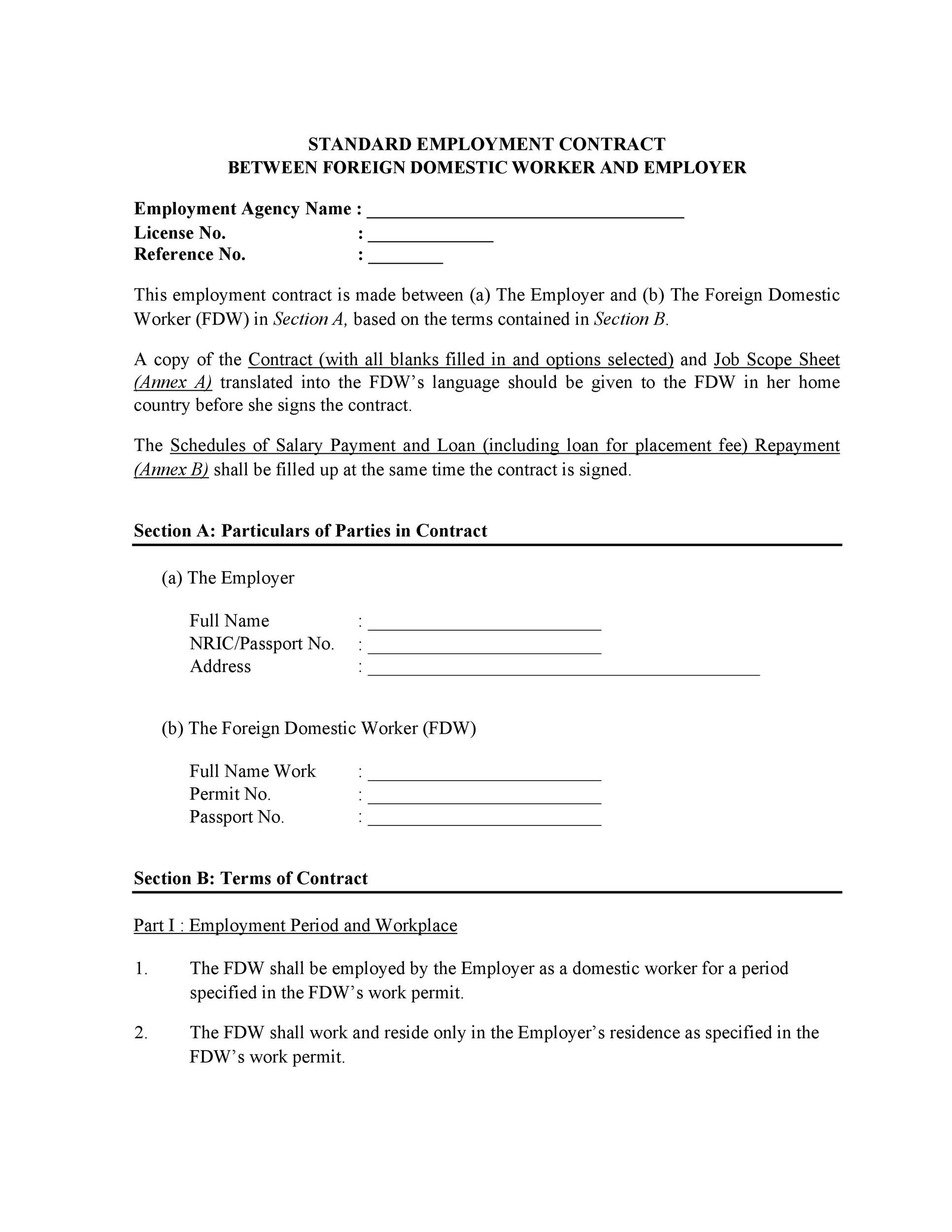 Free employment contract 25