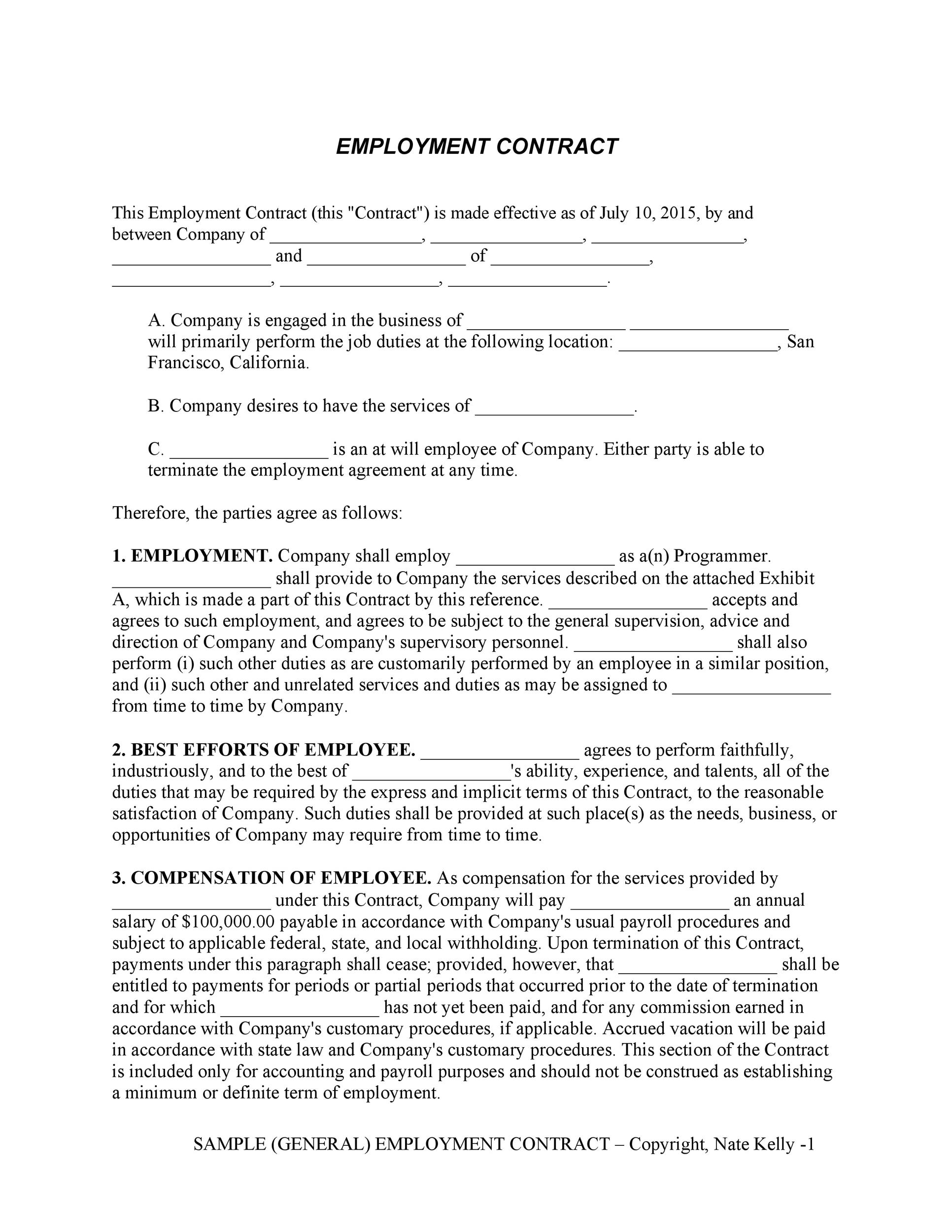Free employment contract 34
