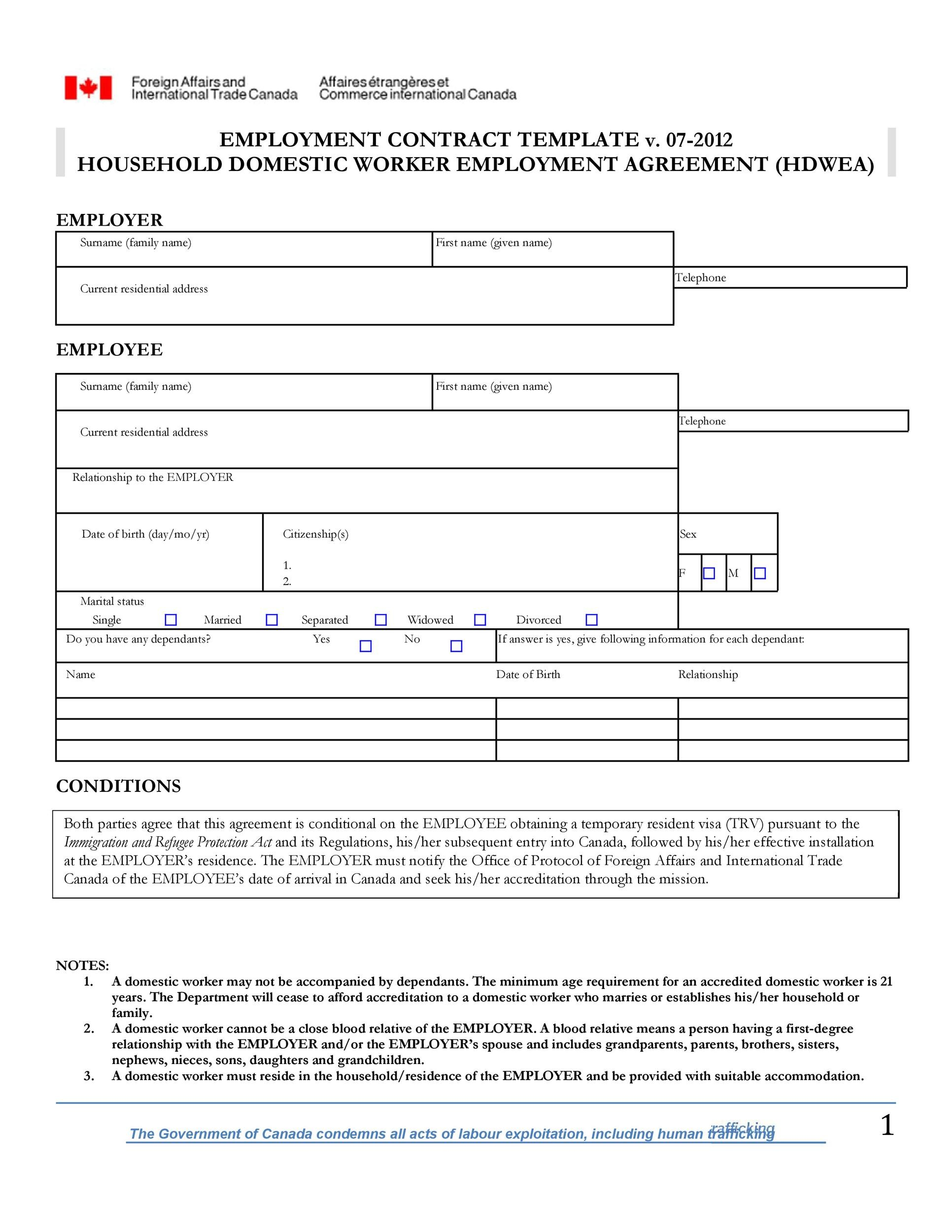 Free employment contract 40