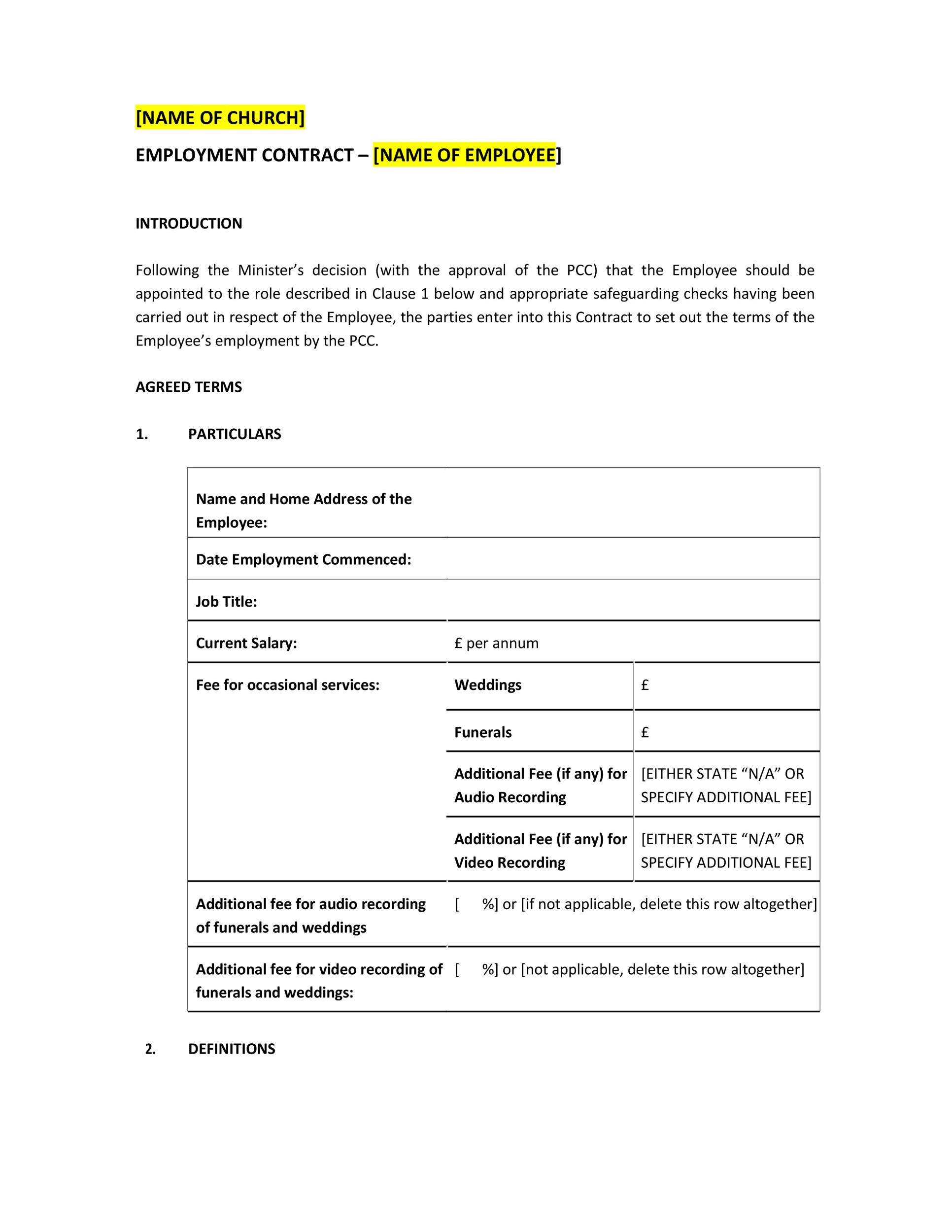 Free employment contract 42