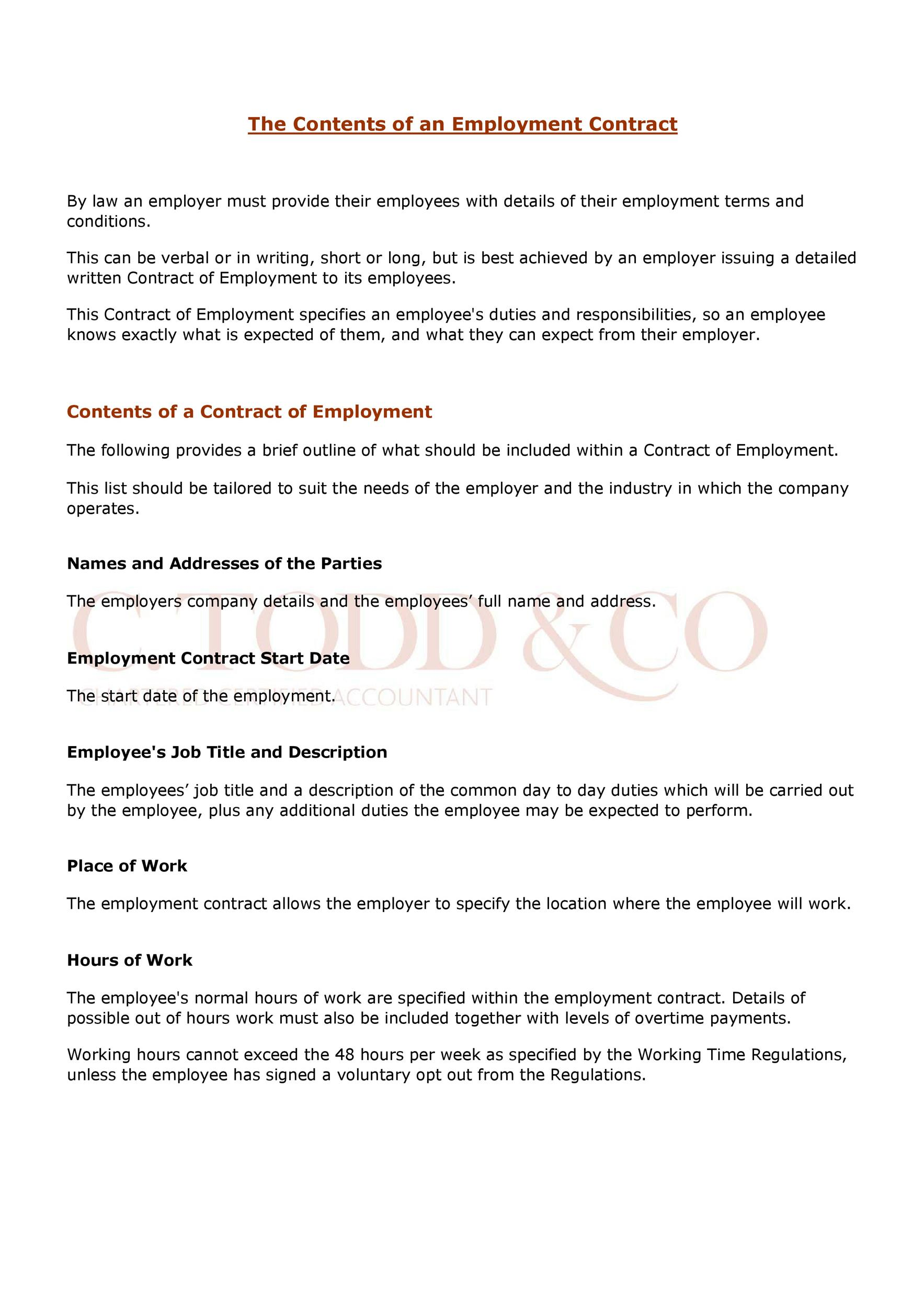 Free employment contract 44