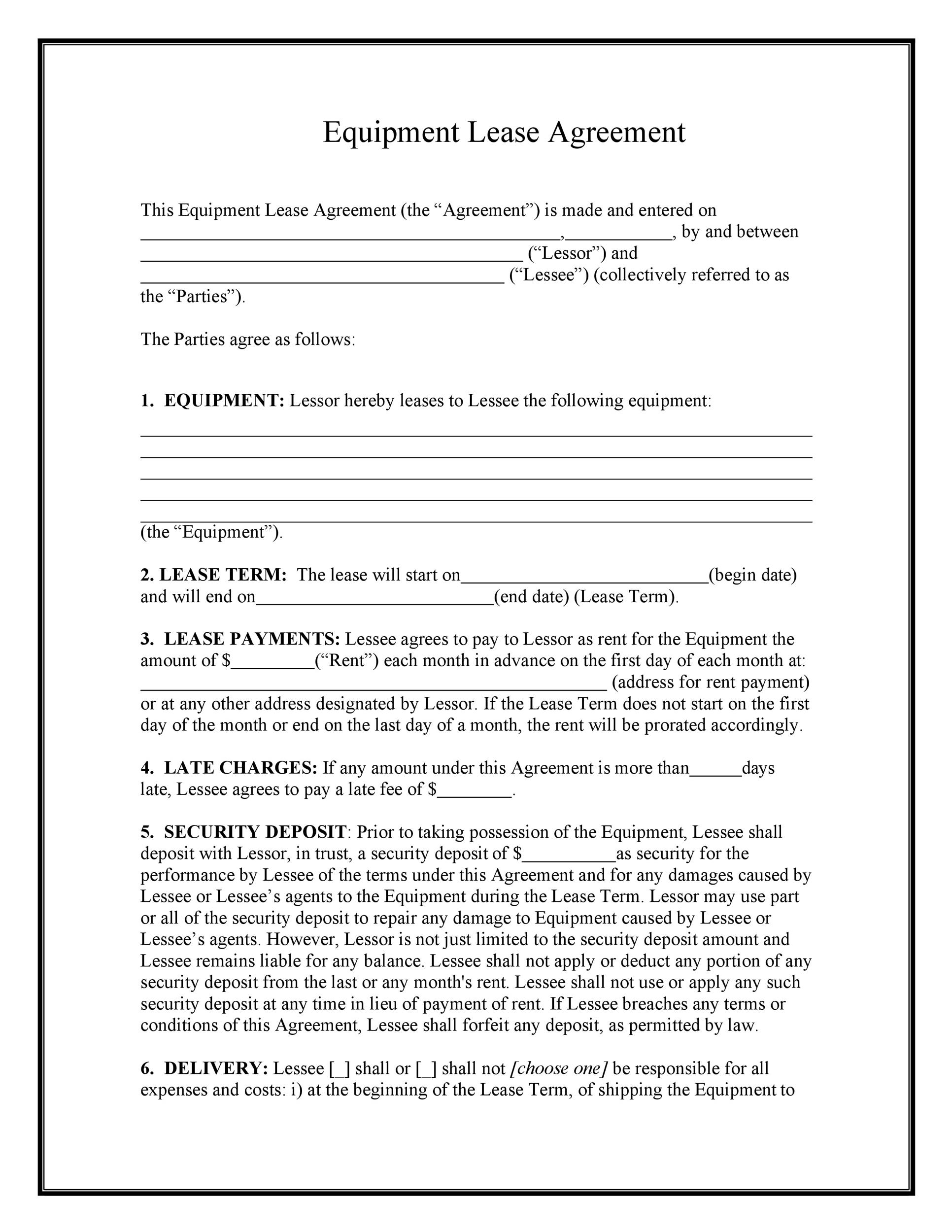 Free equipment lease agreement 01