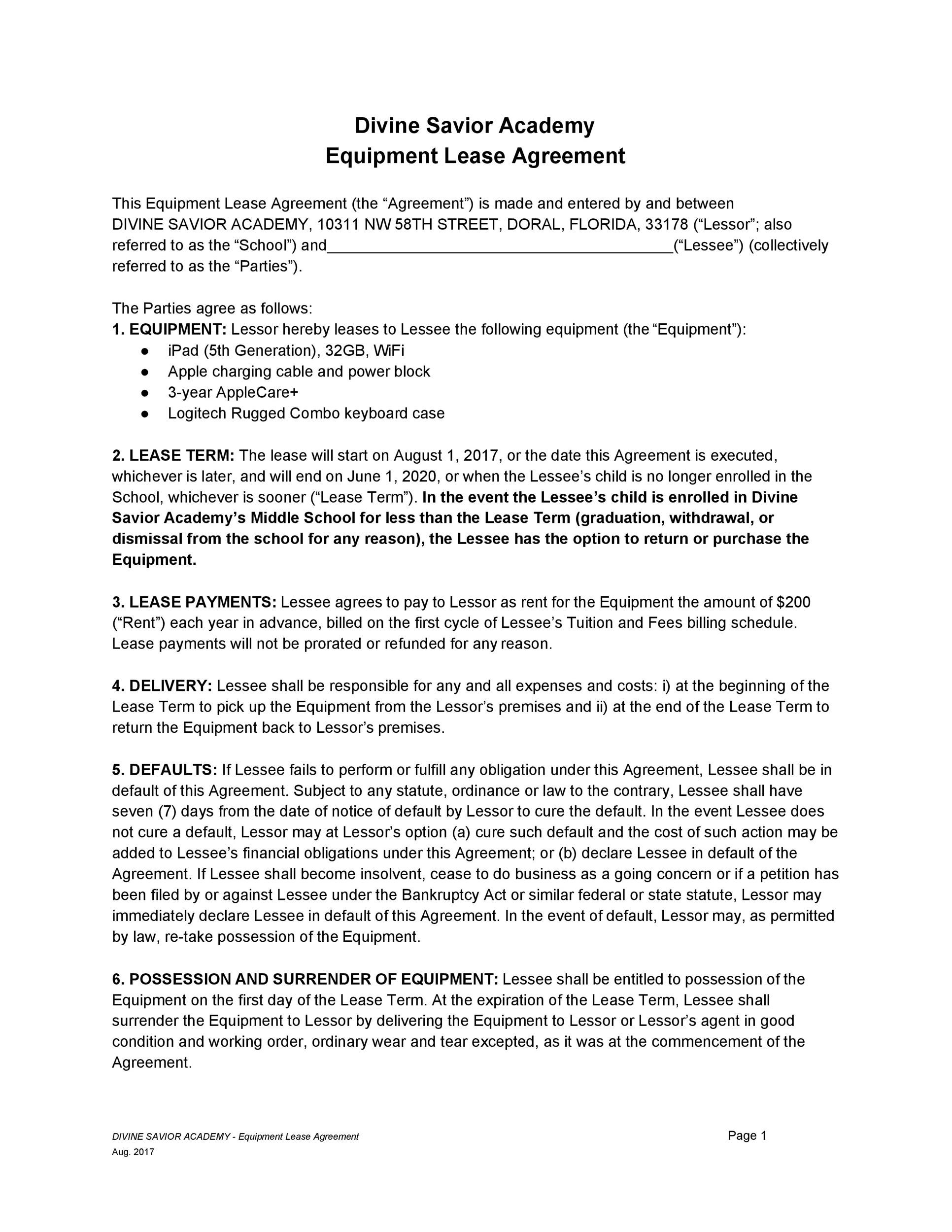 44 Simple Equipment Lease Agreement Templates ᐅ Template Lab