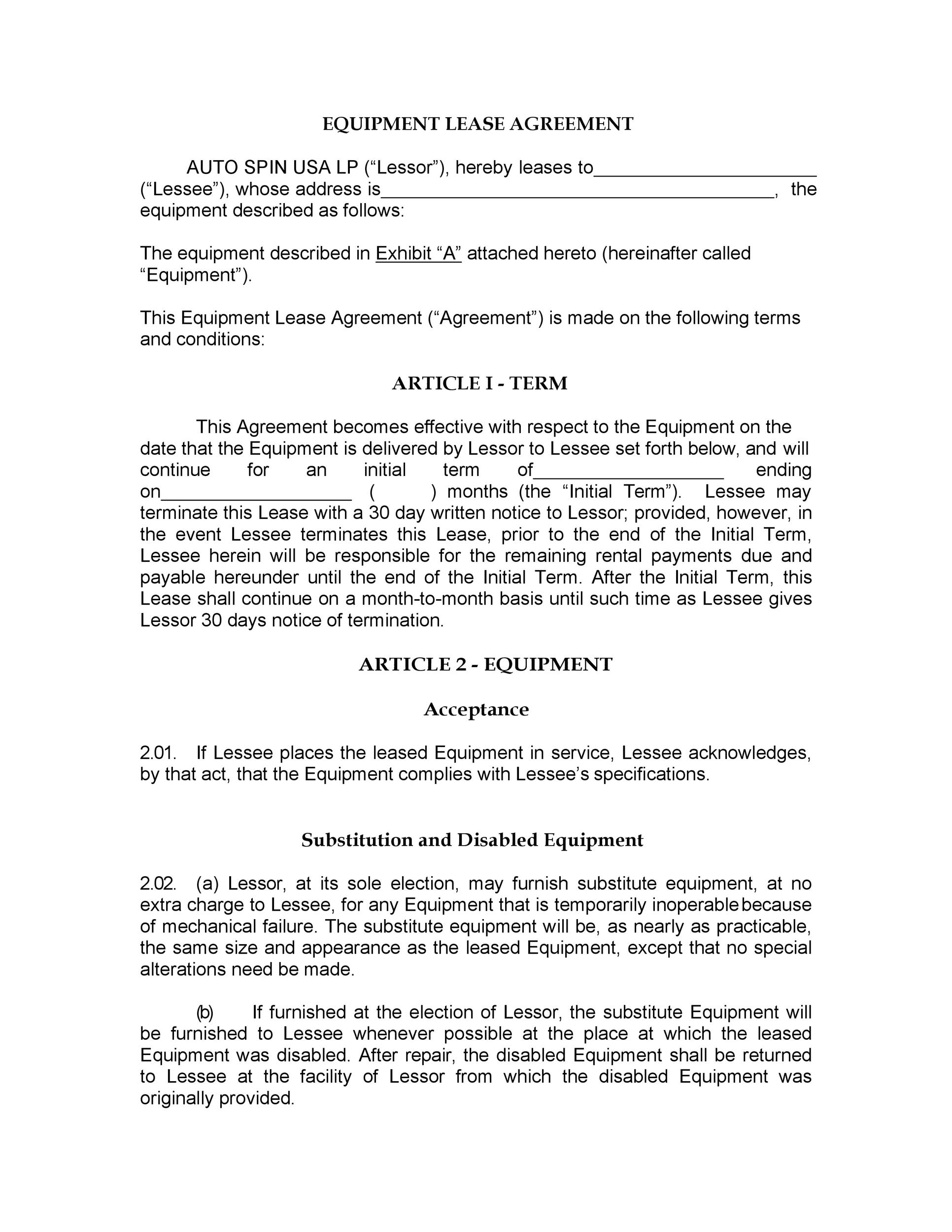 Free equipment lease agreement 09