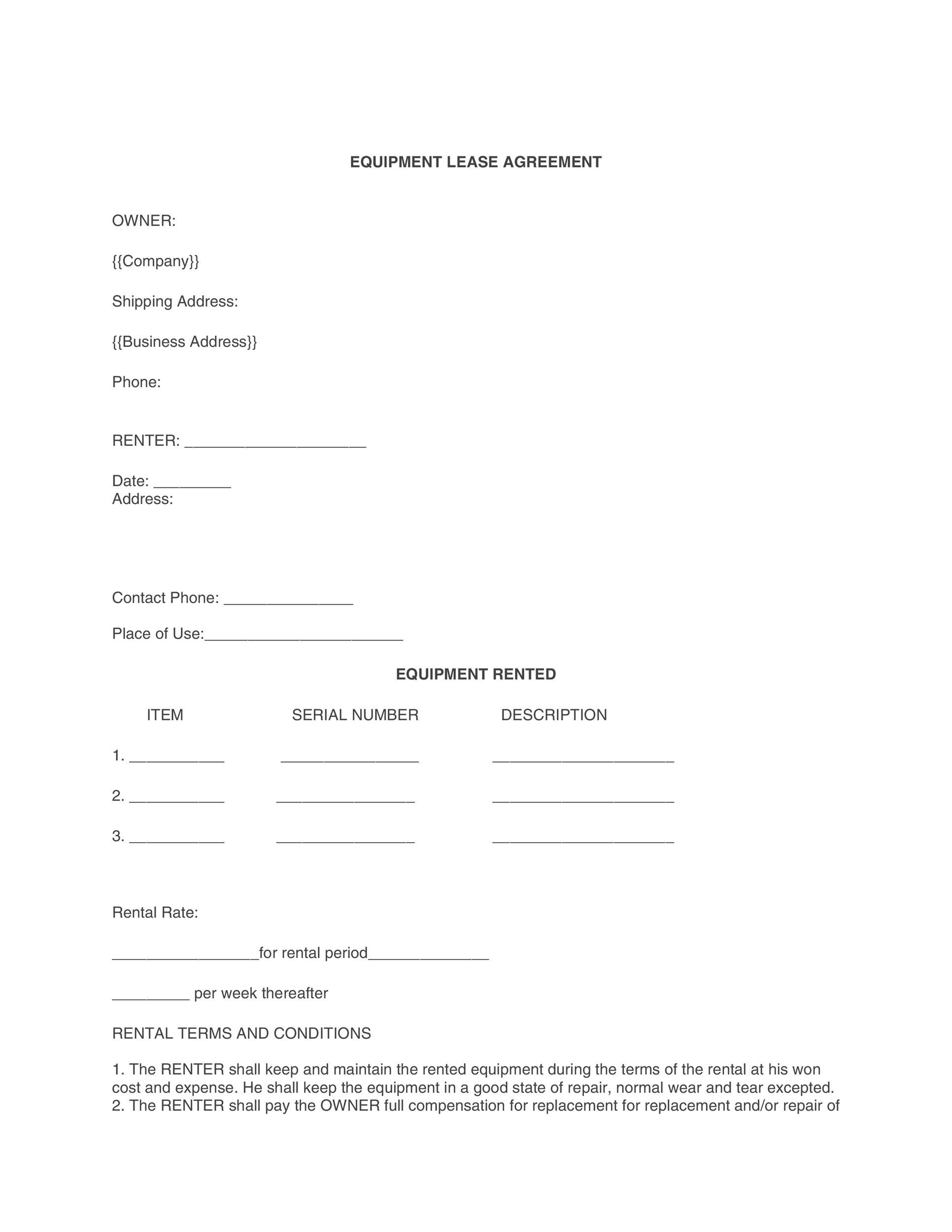 Free equipment lease agreement 11