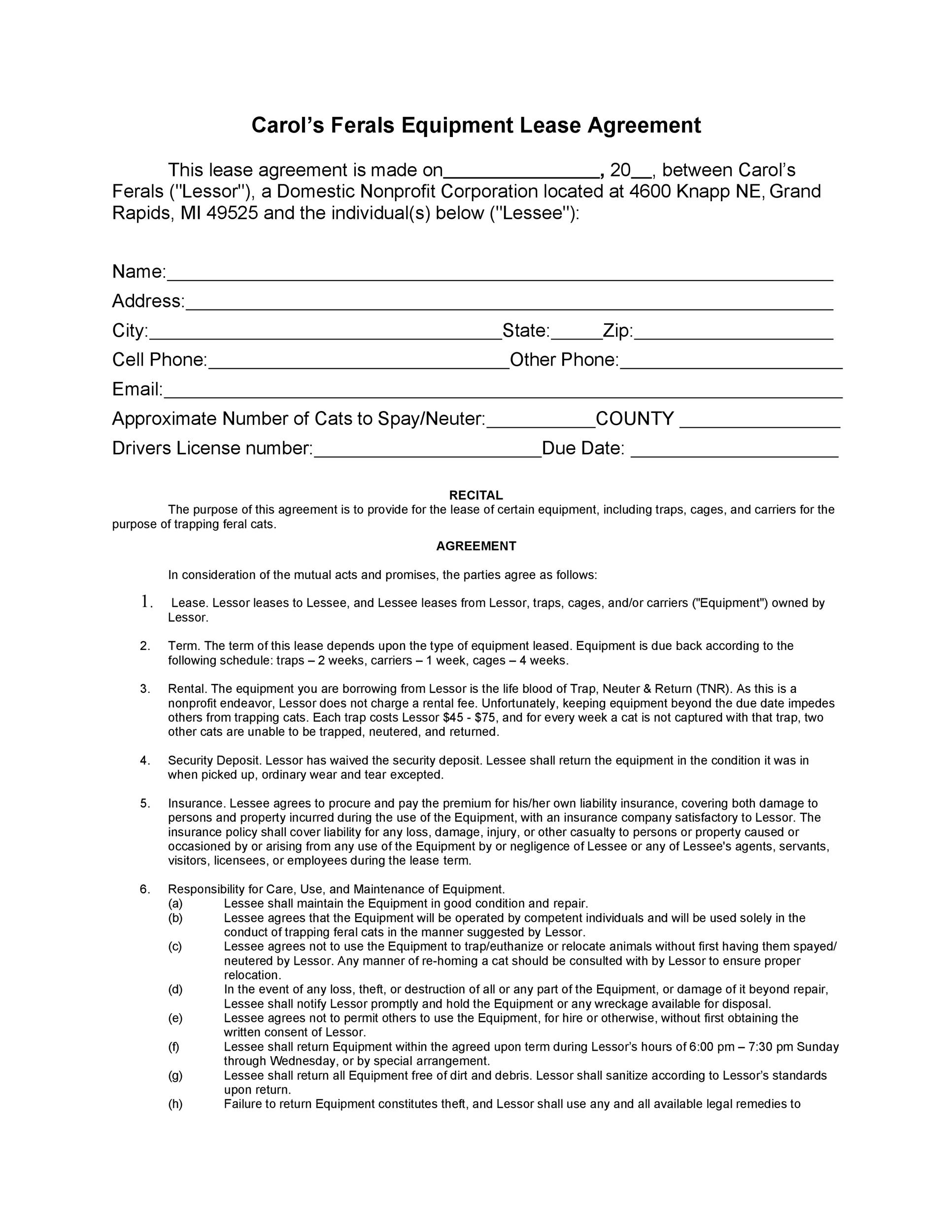 Free equipment lease agreement 12