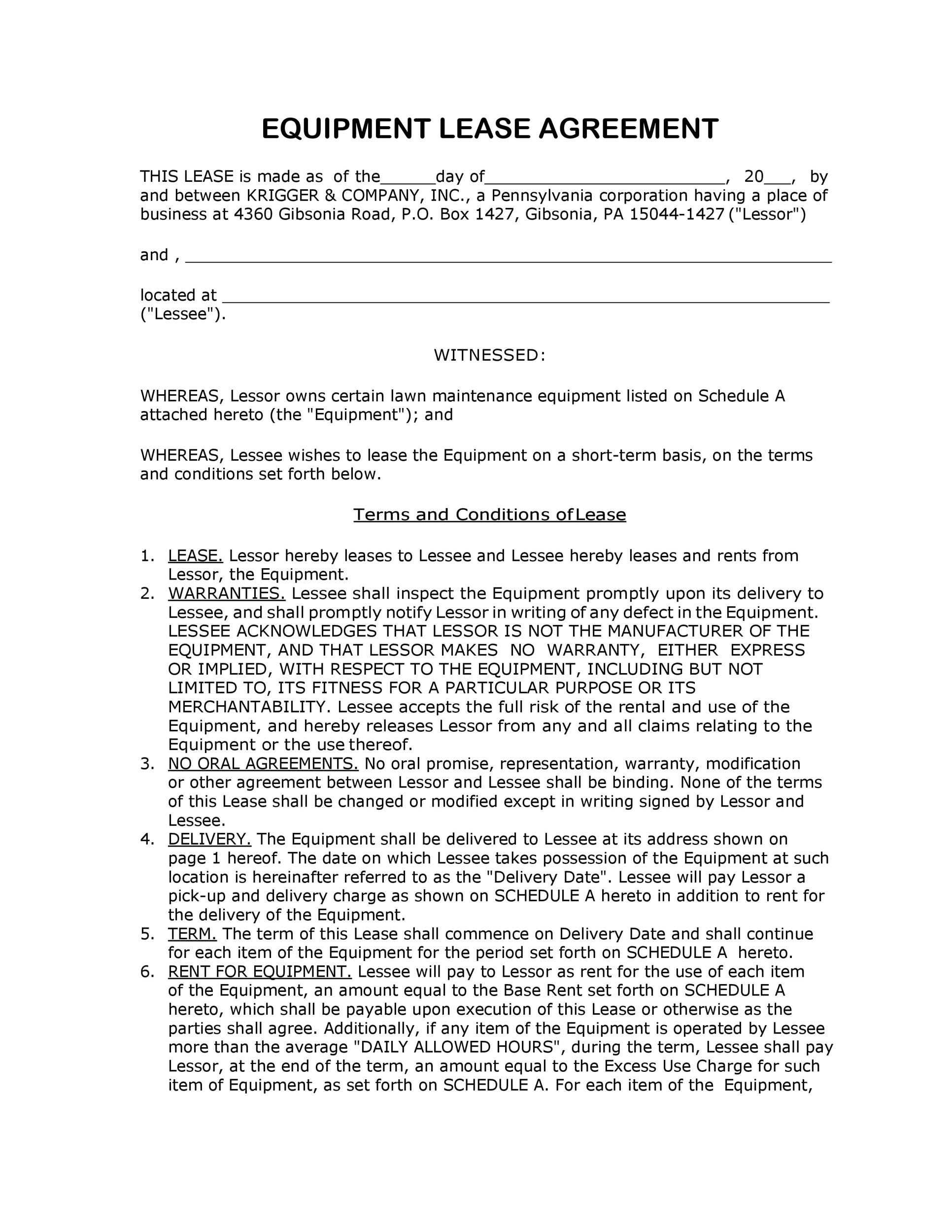 Free equipment lease agreement 13