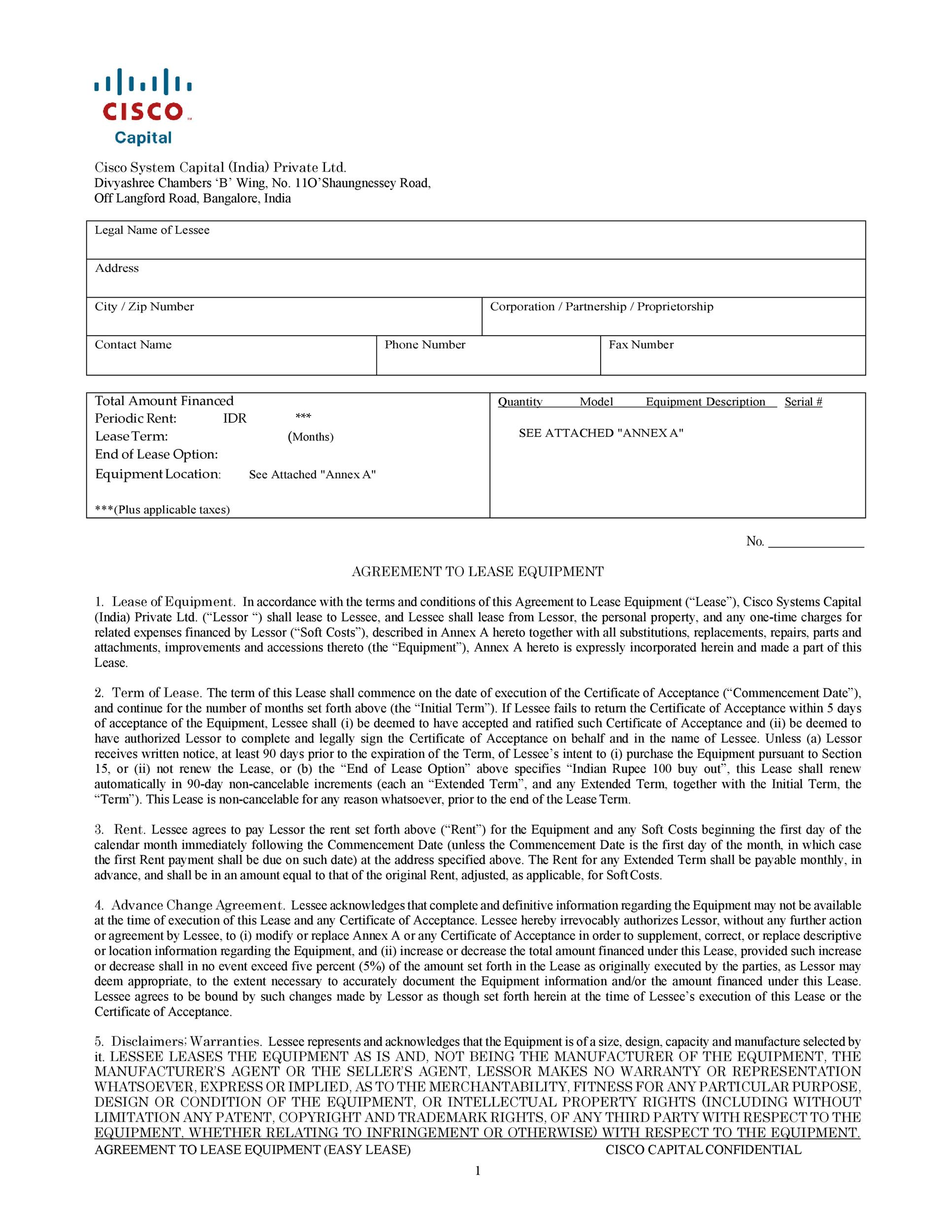 Free equipment lease agreement 16