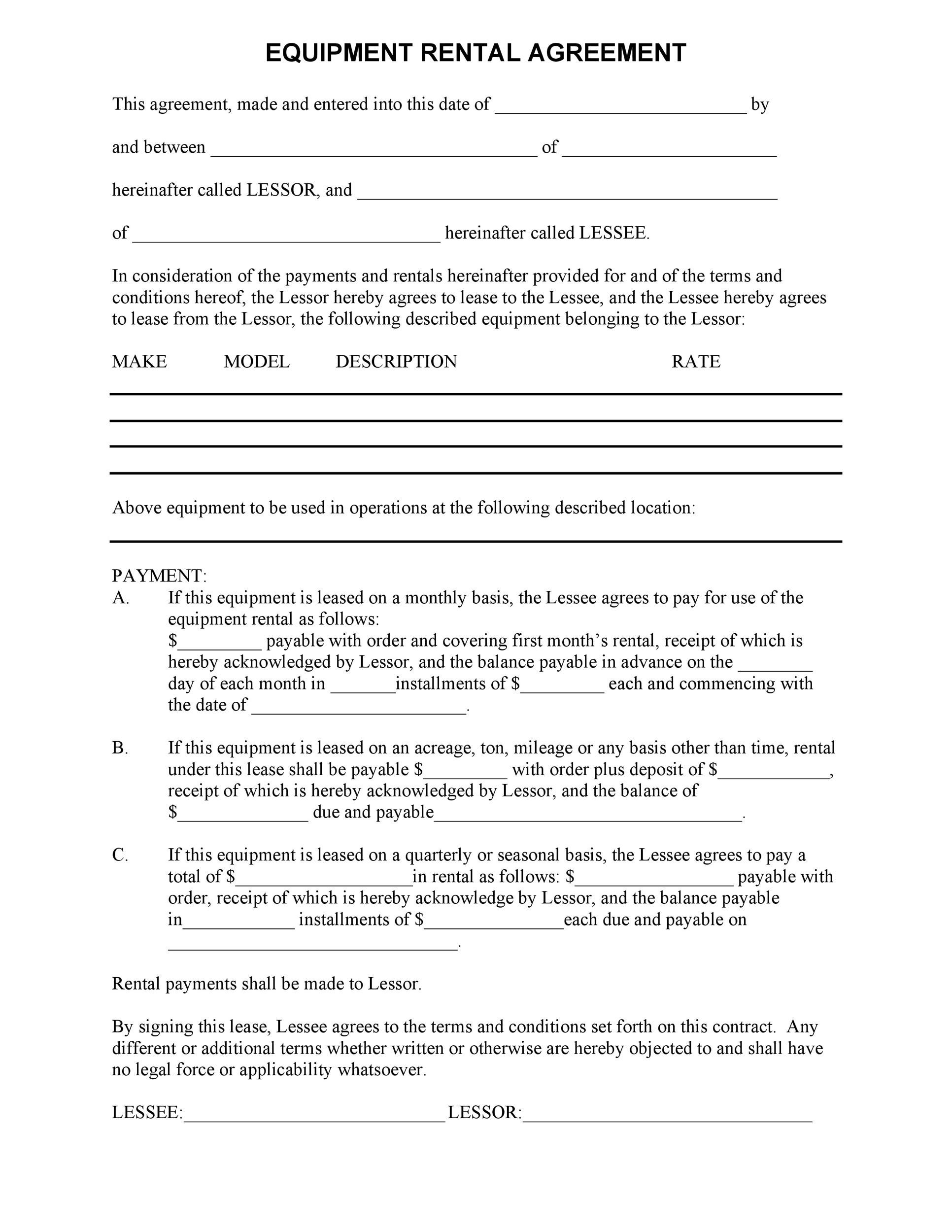 Free equipment lease agreement 19