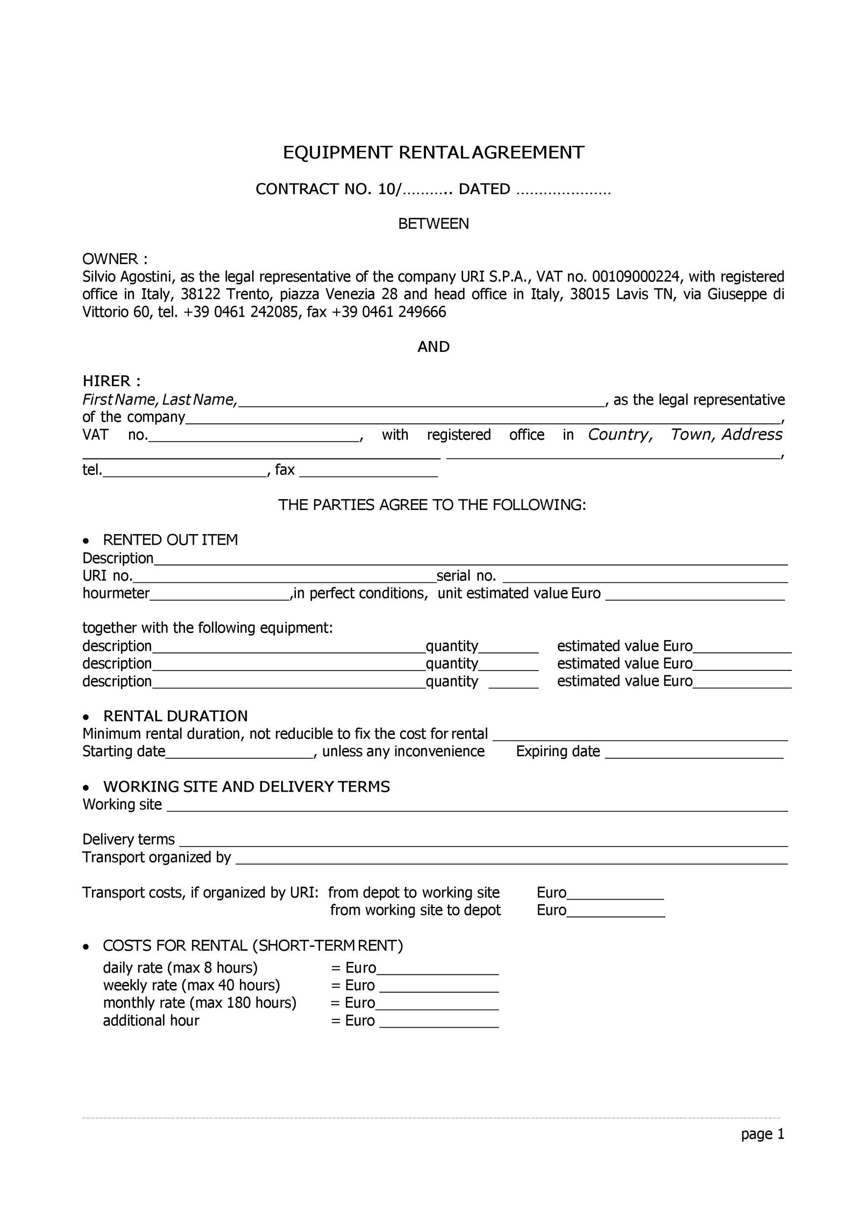 Free equipment lease agreement 22