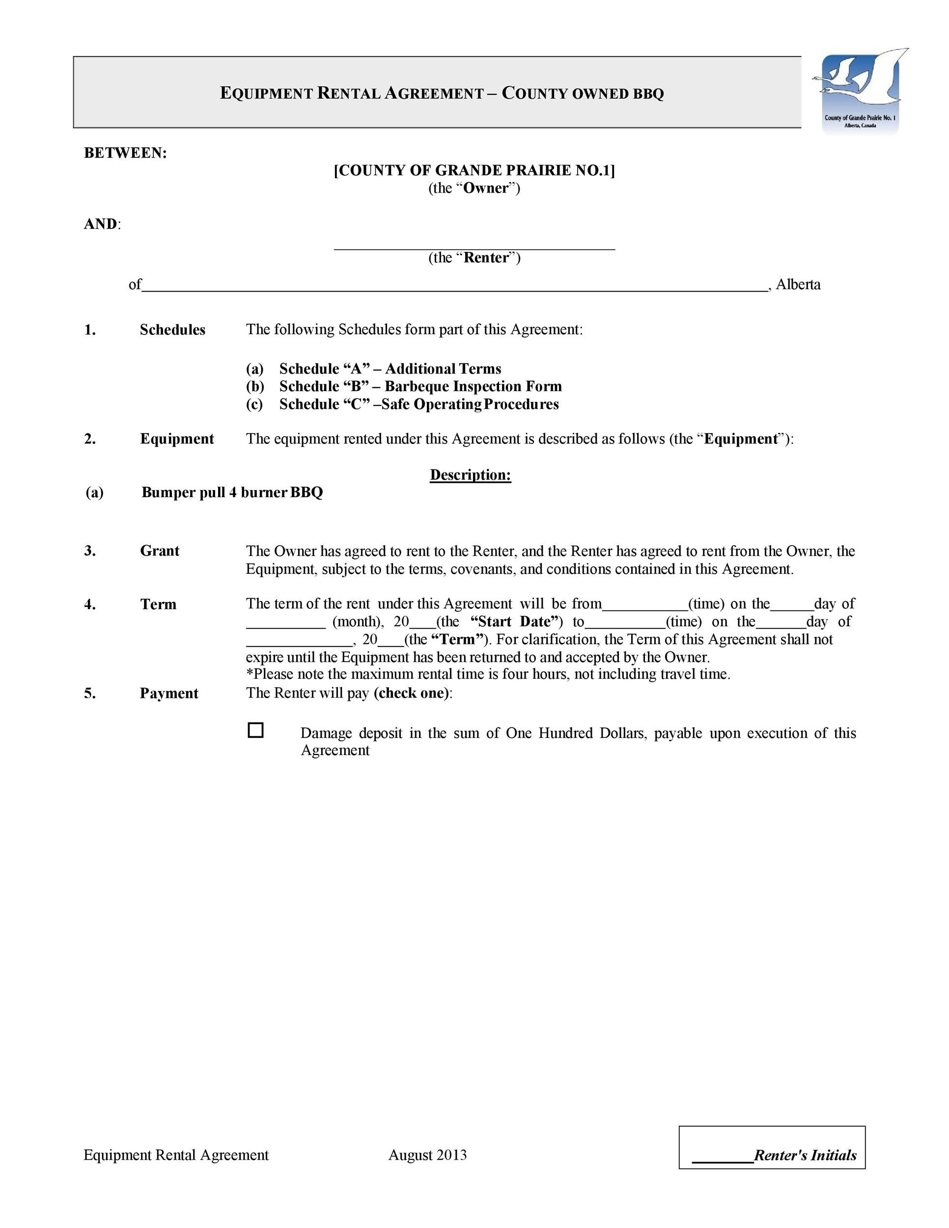Free equipment lease agreement 29