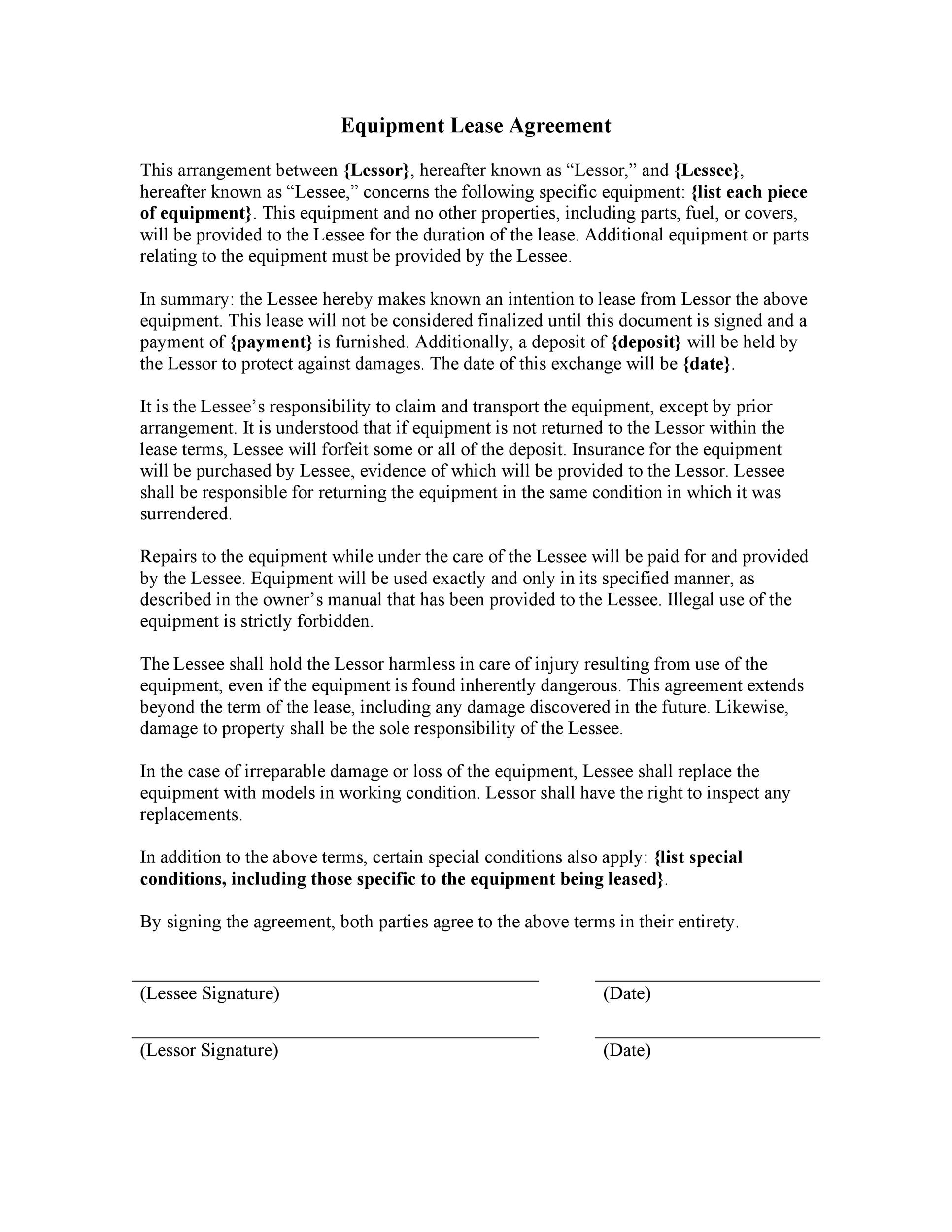 Free equipment lease agreement 32