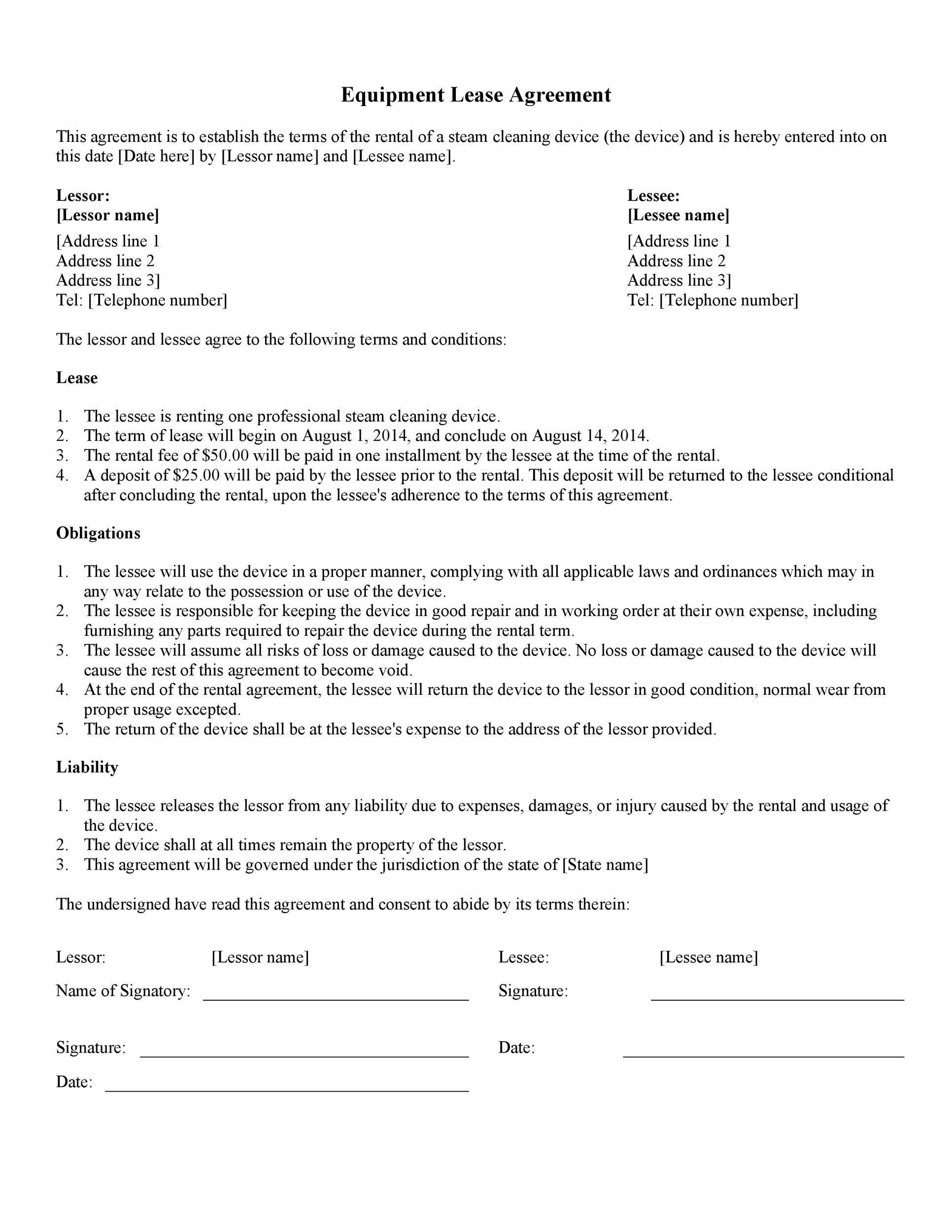 44 Simple Equipment Lease Agreement Templates
