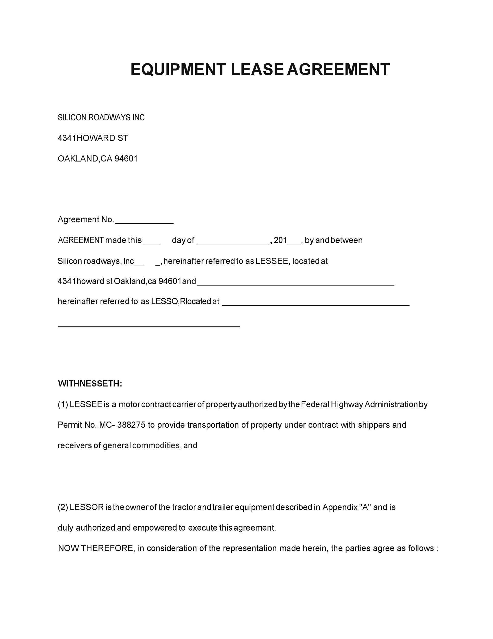 Free equipment lease agreement 34