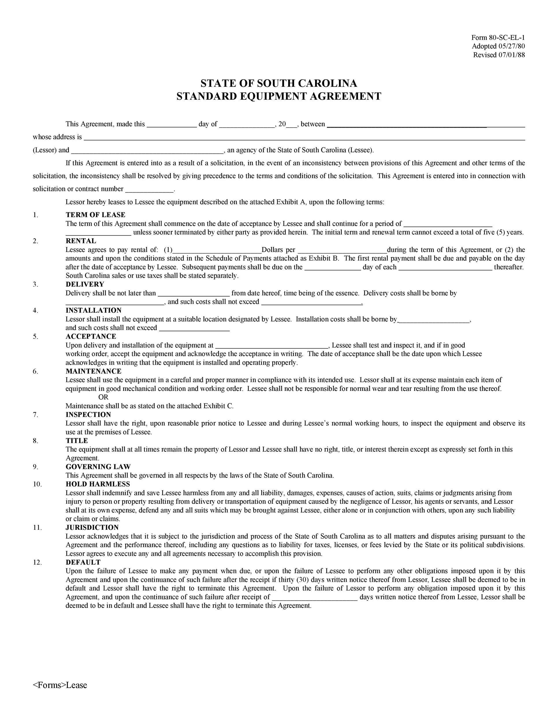 Free equipment lease agreement 37