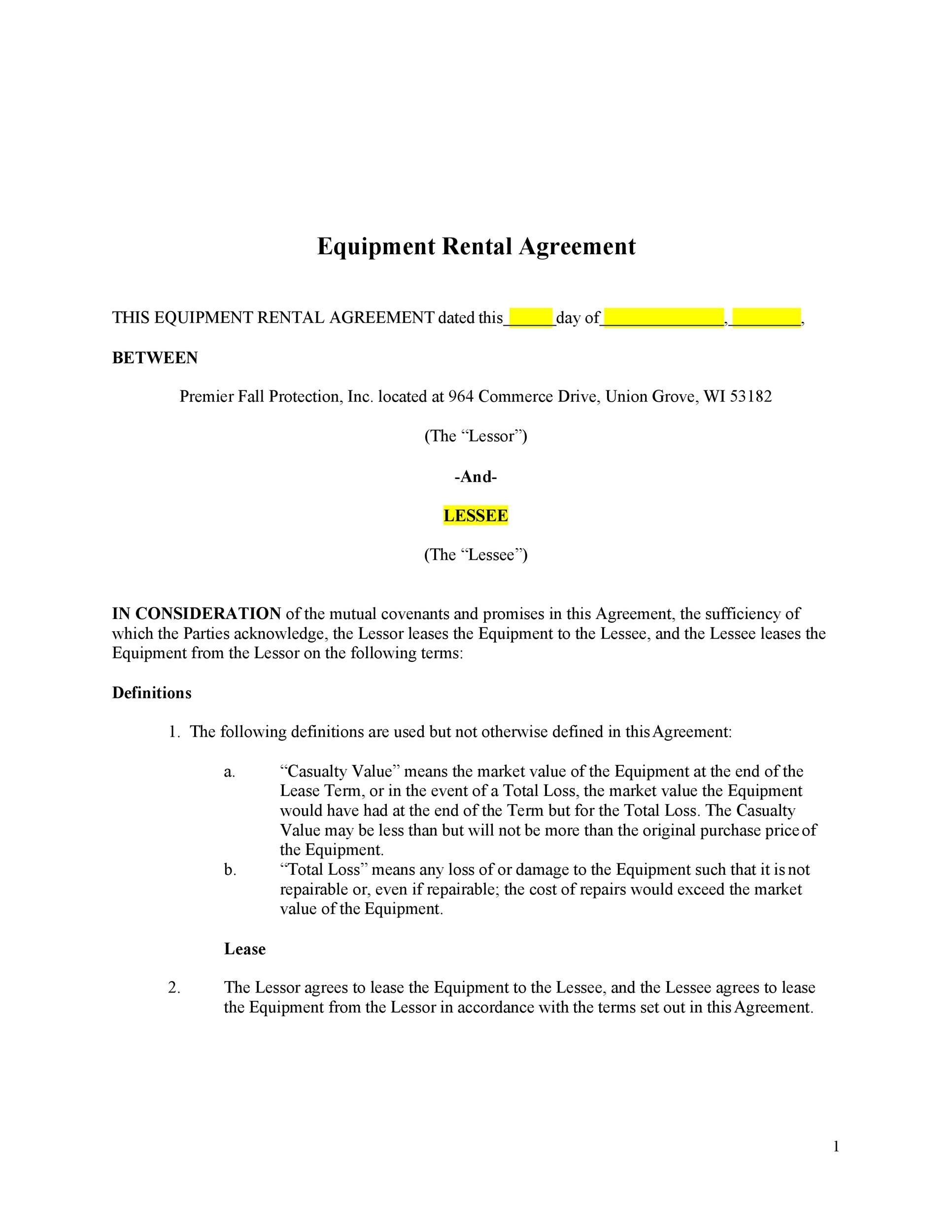 Free equipment lease agreement 39