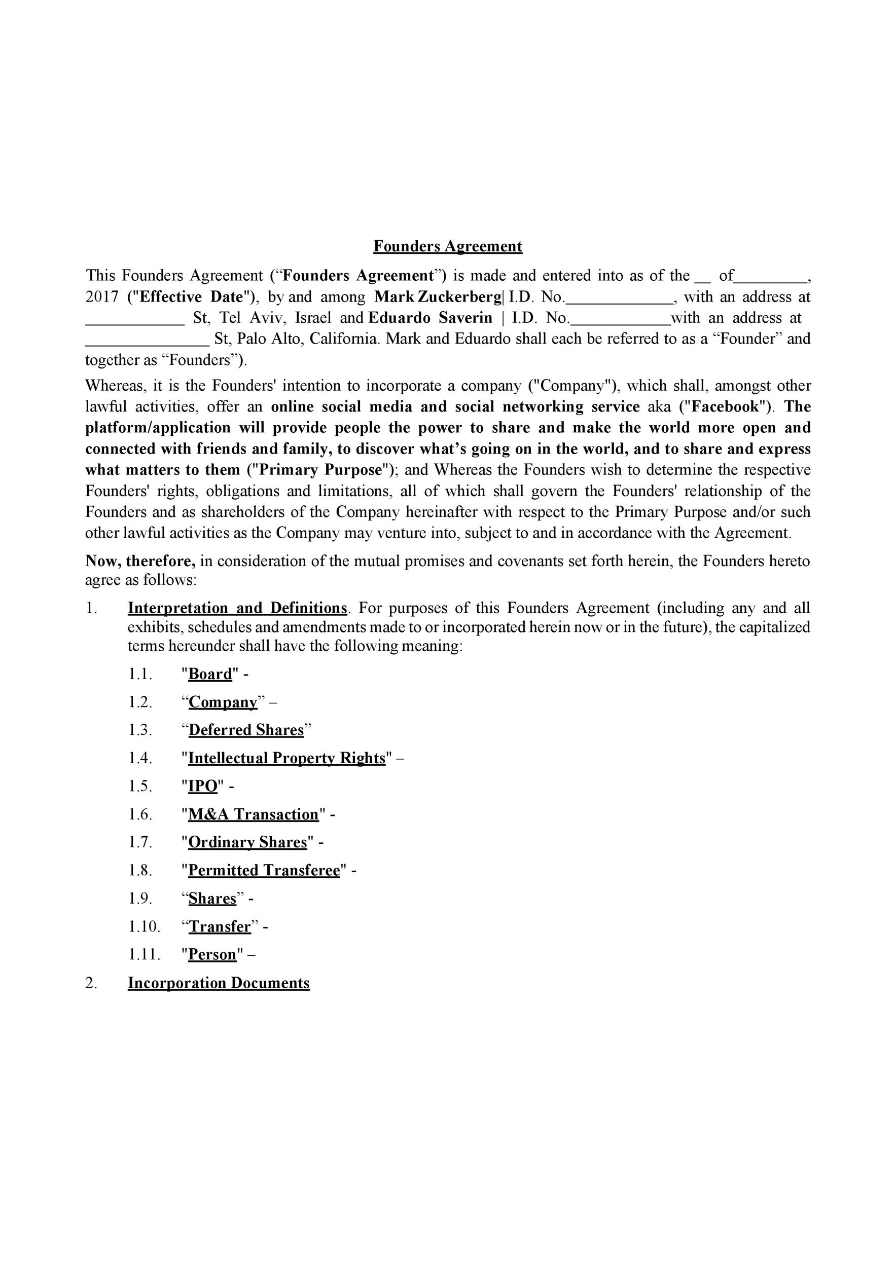 Free founders agreement 03