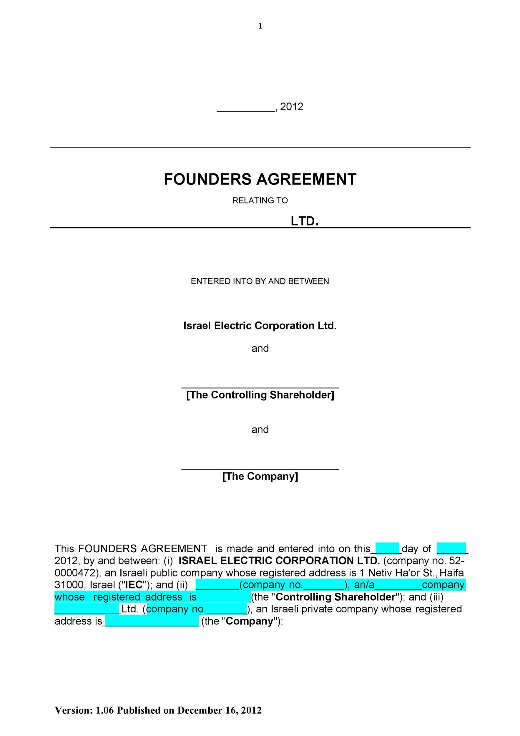 Free founders agreement 04