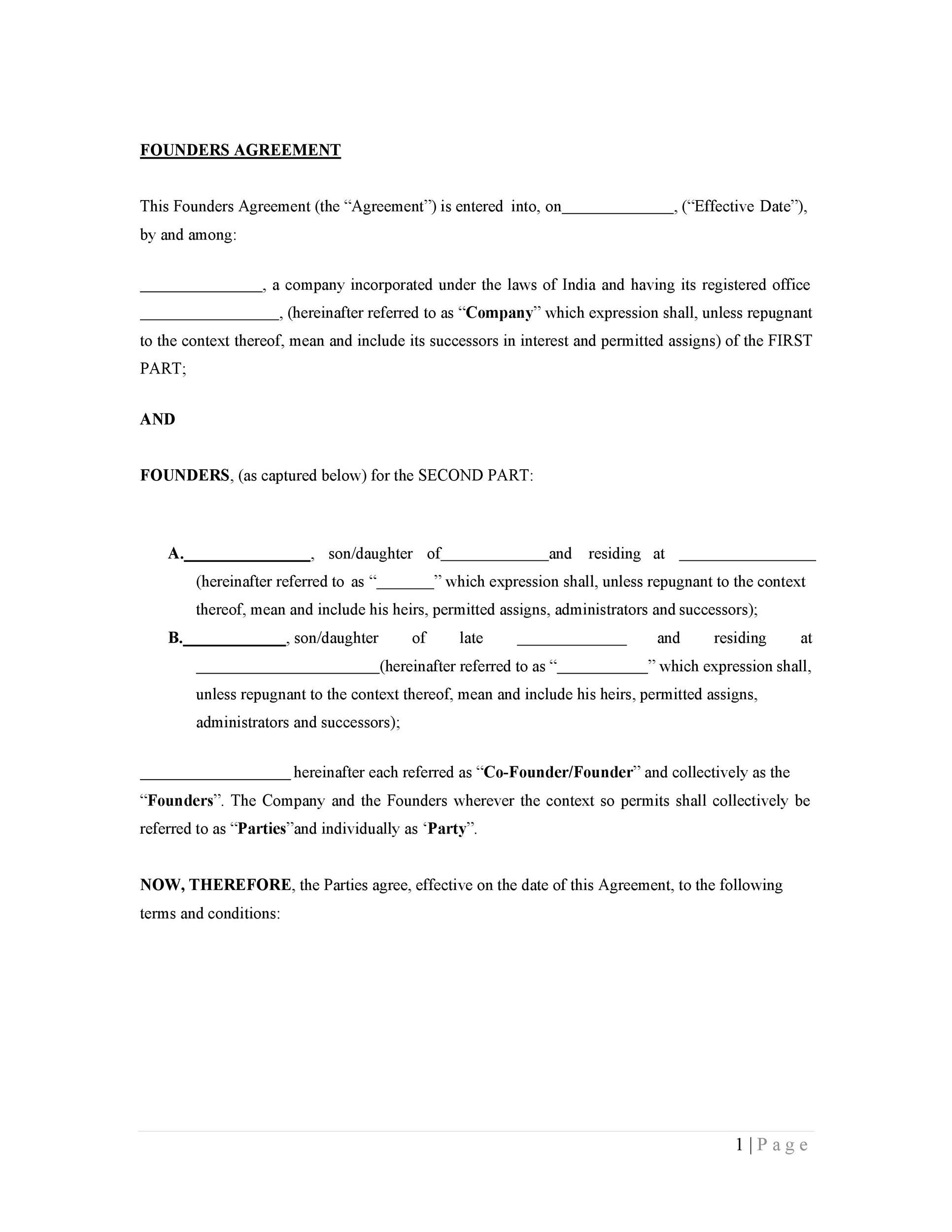 Free founders agreement 05