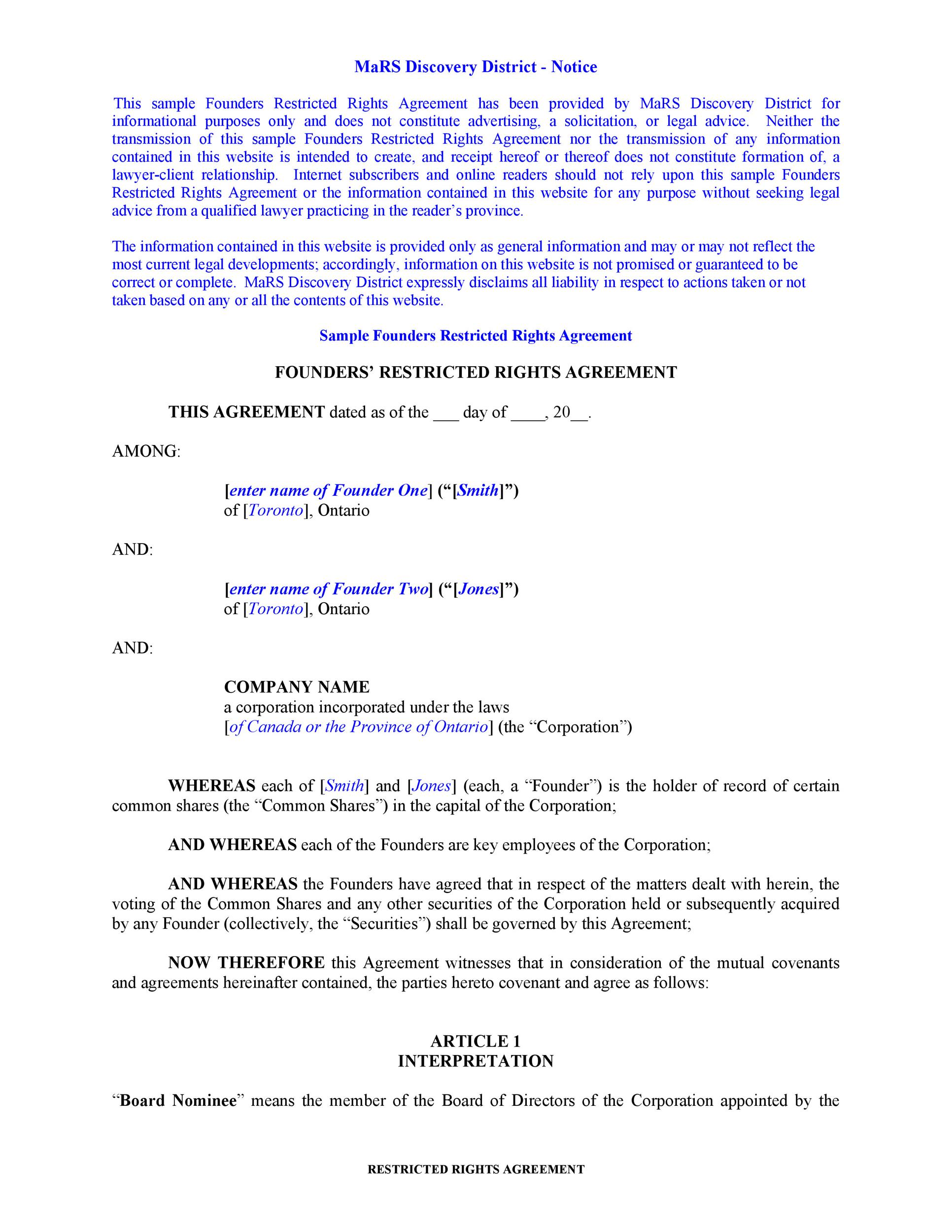 Free founders agreement 06