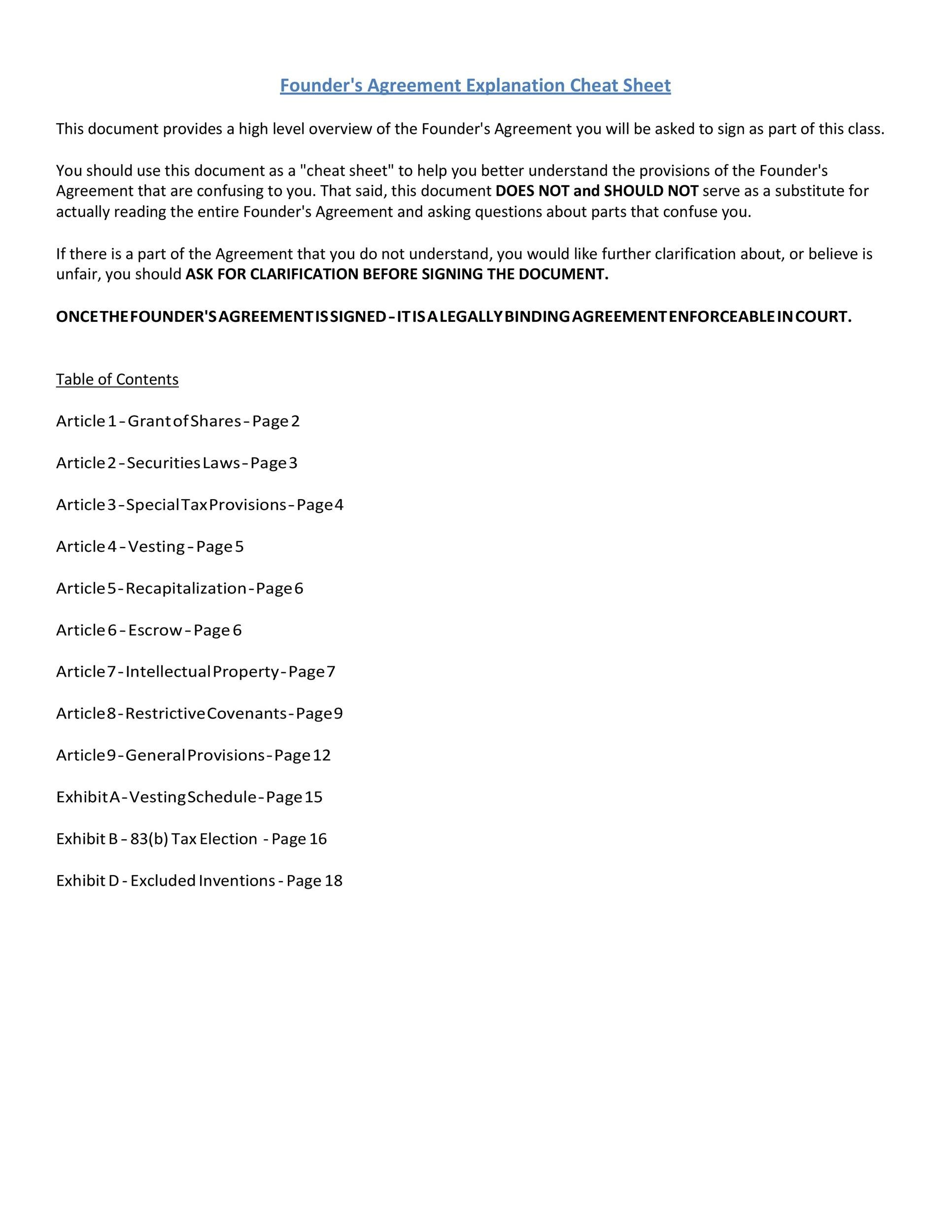Free founders agreement 11