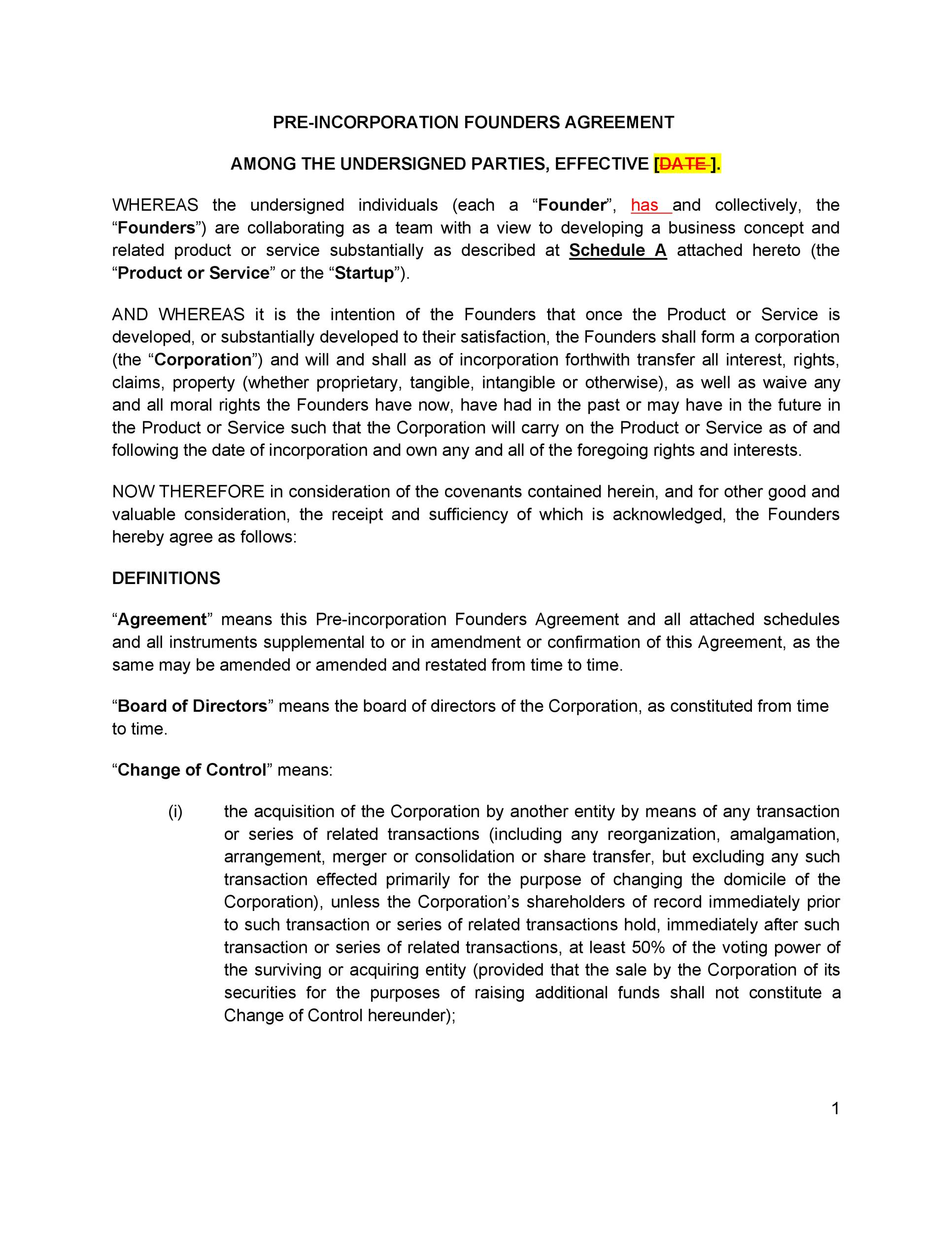 Free founders agreement 13