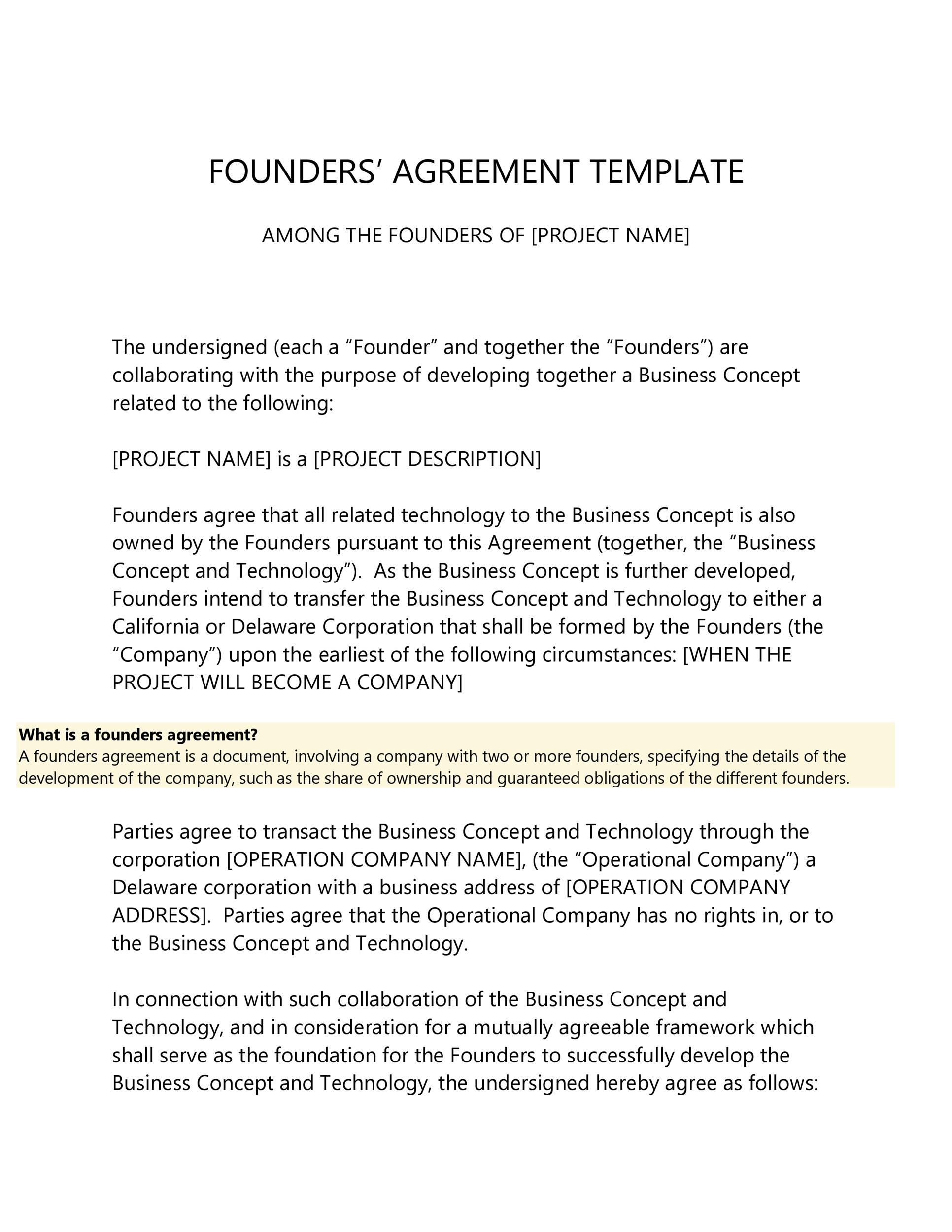Free founders agreement 16