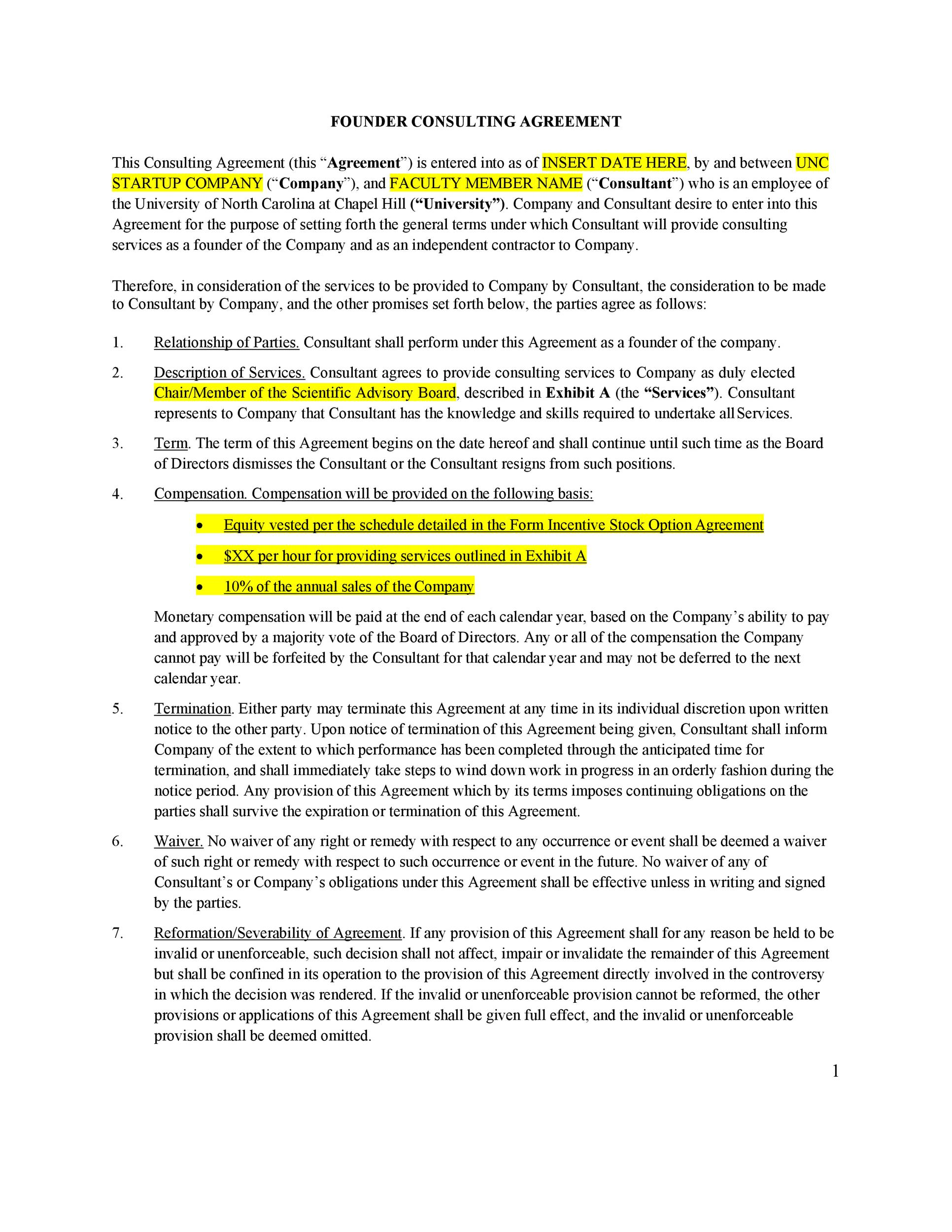 Free founders agreement 20
