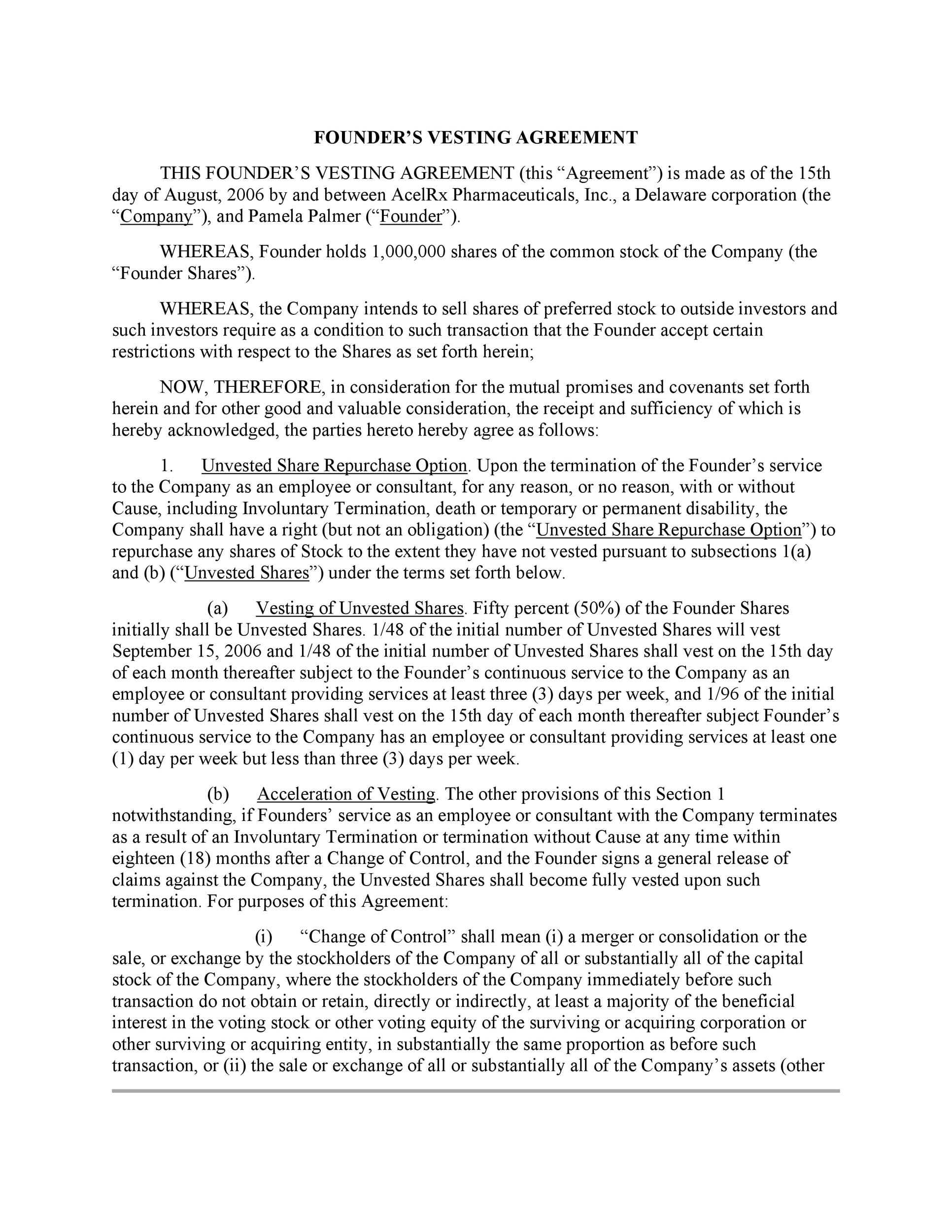Free founders agreement 22