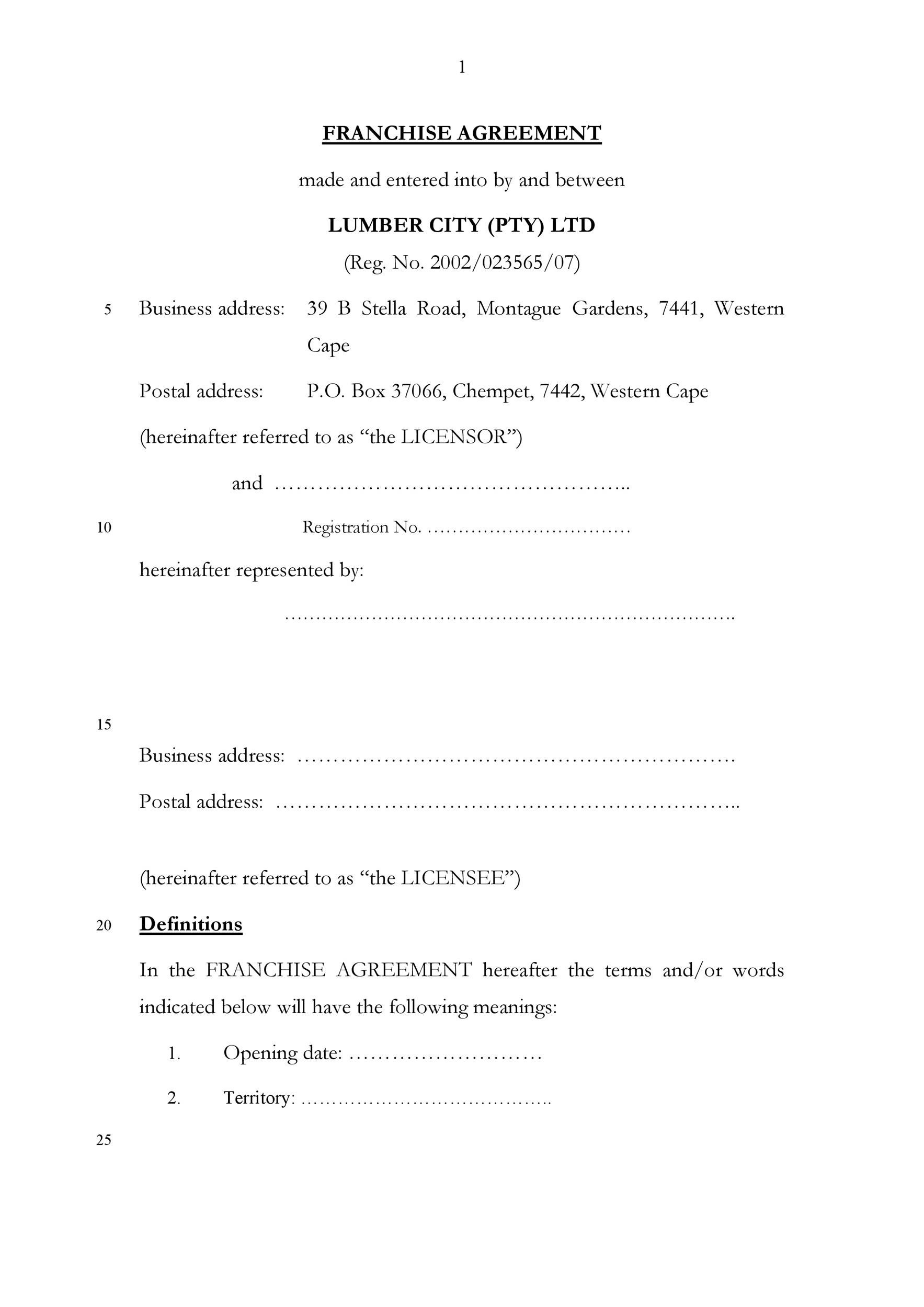 Free franchise agreement 04