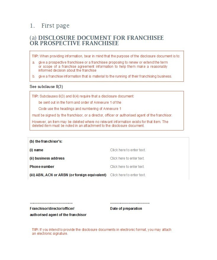 Free franchise agreement 11