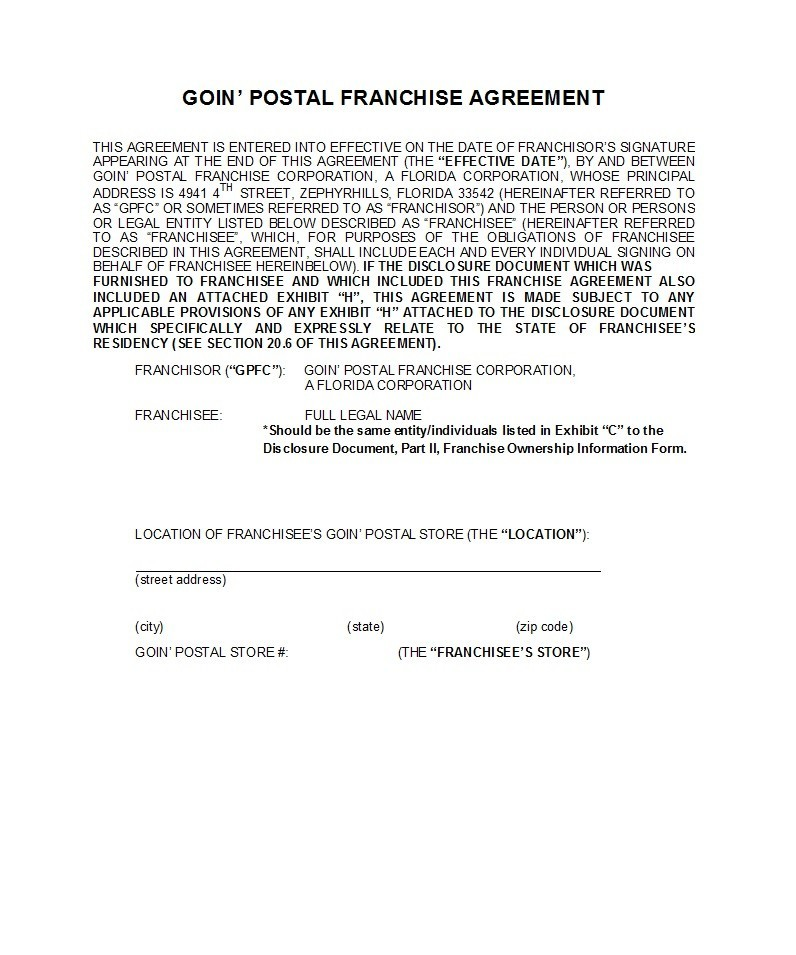 Free franchise agreement 22