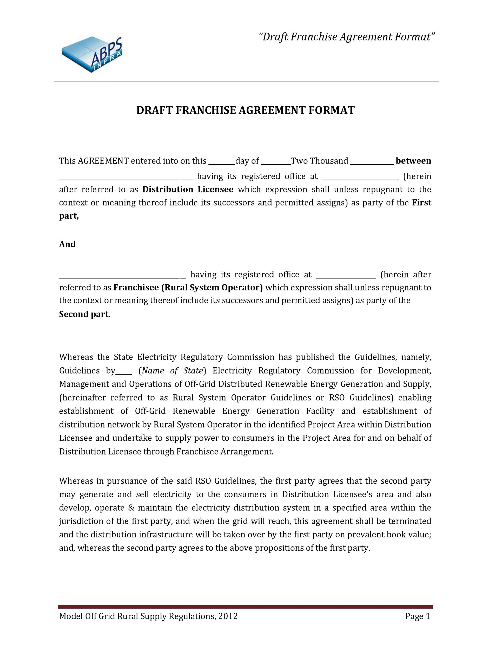 Free franchise agreement 24