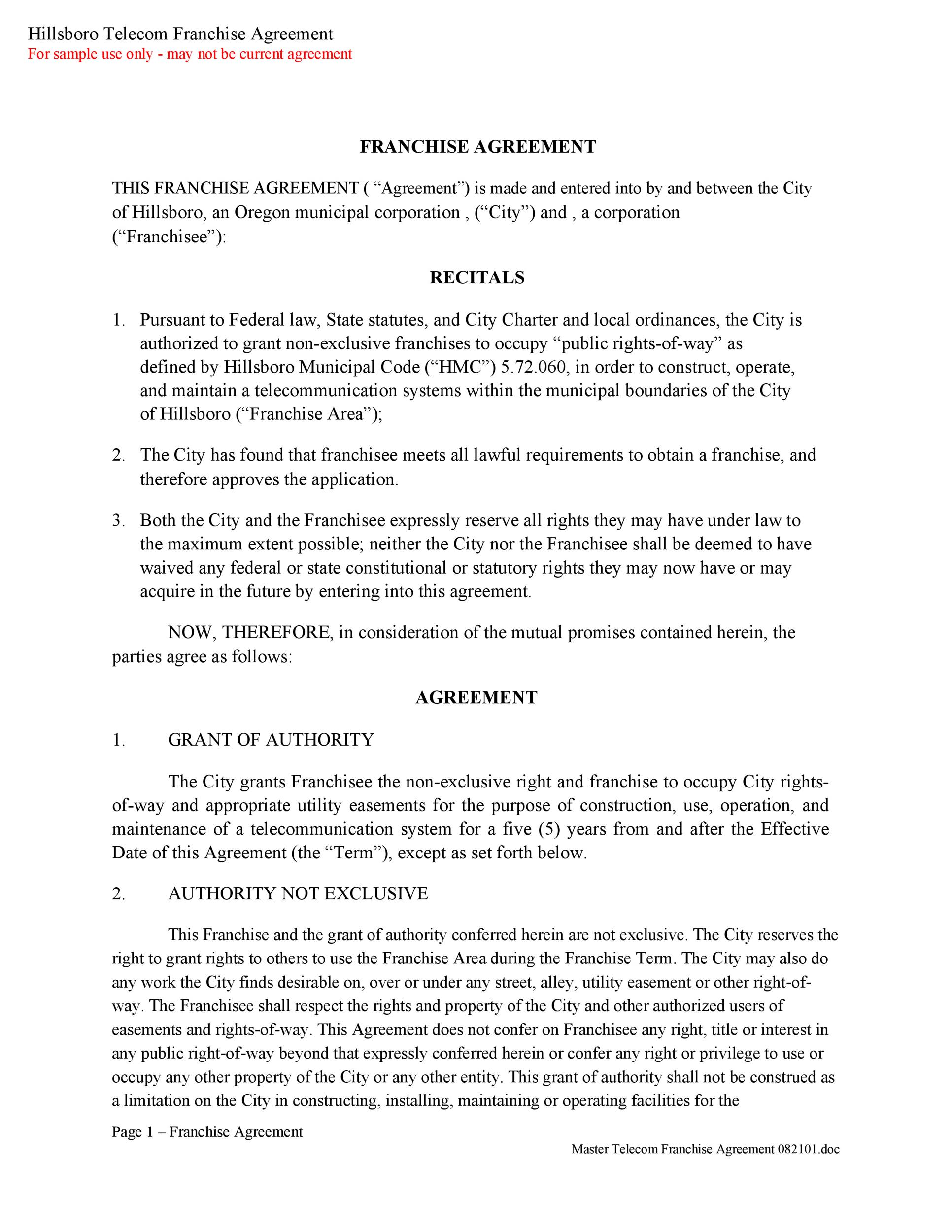 Free franchise agreement 37