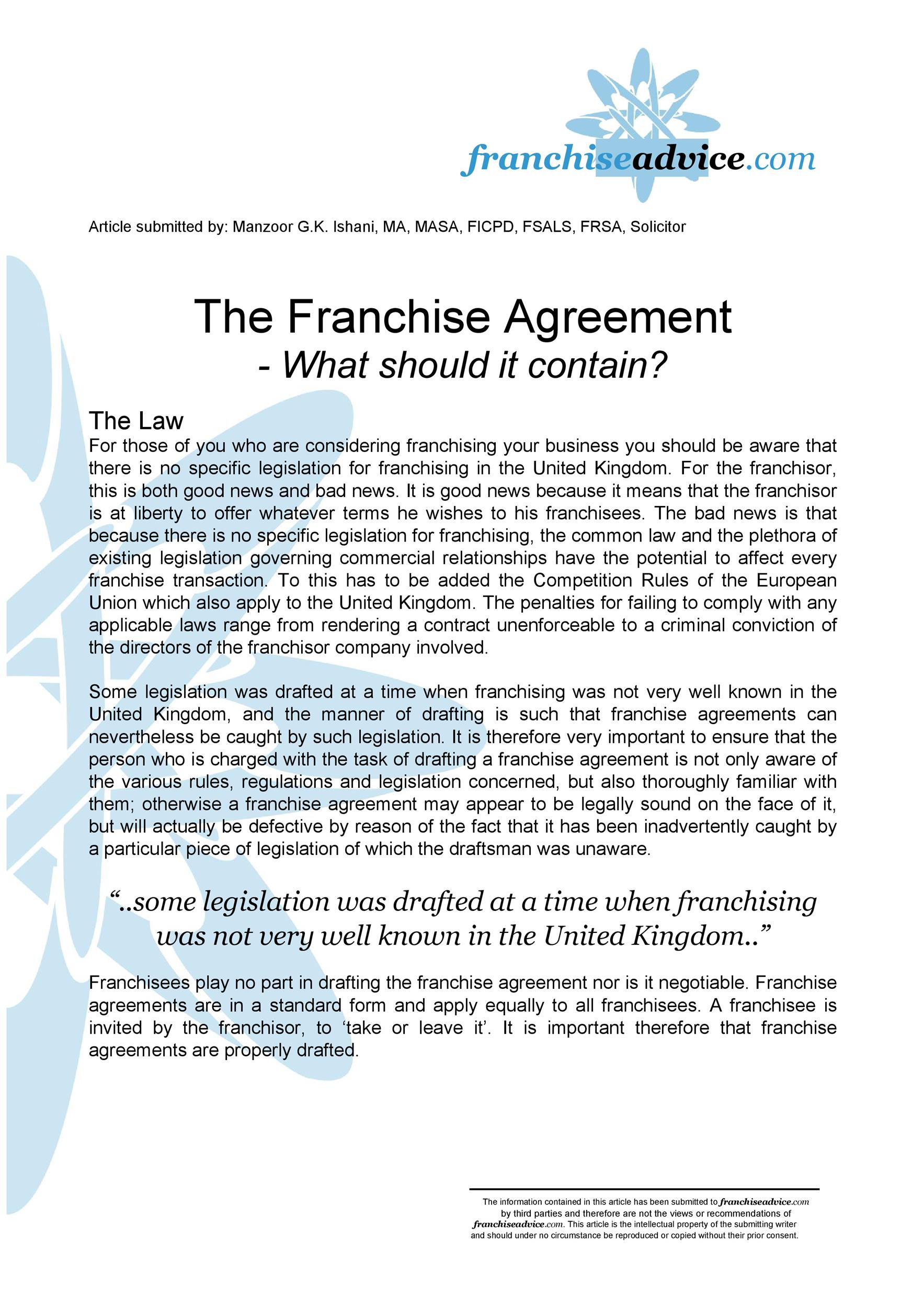 Free franchise agreement 49