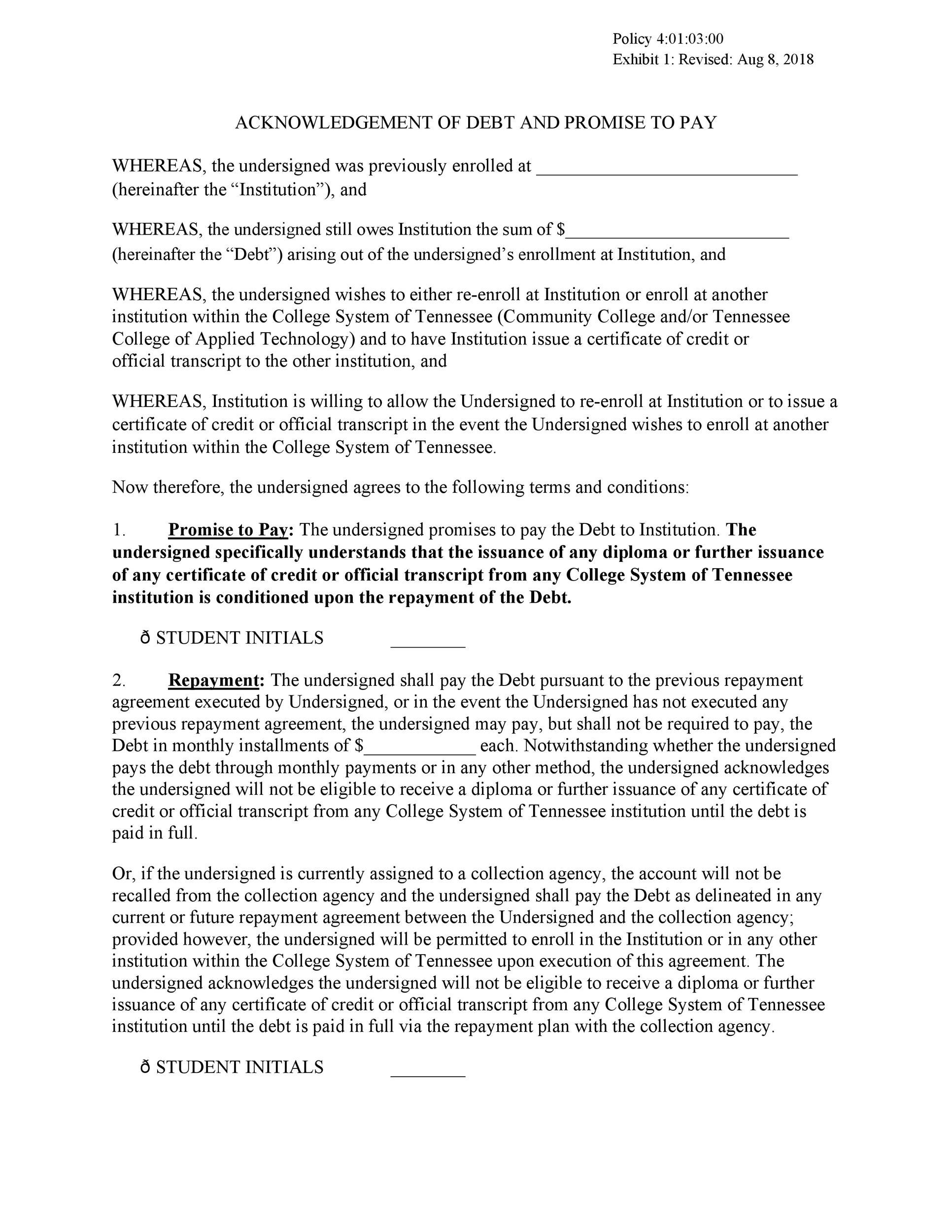Free iou template 16
